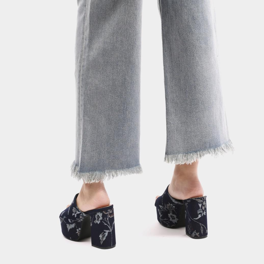 ab7c35d2e Public Desire Misty Platform Backless Mules In Denim Embroidered in ...