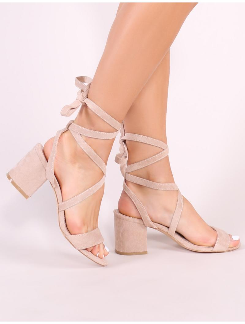 f6efb83b1754 Lyst - Public Desire Sophie Heeled Sandals In Nude Faux Suede in Natural