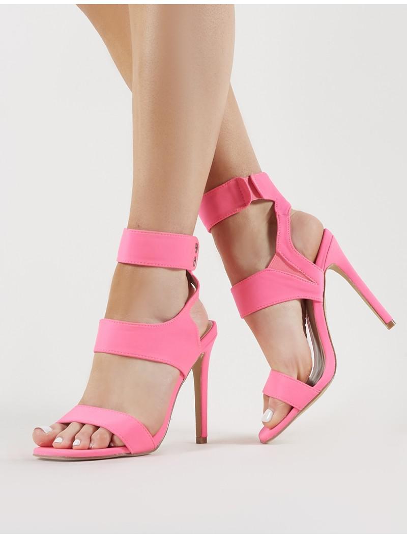 417f6b3ed0d Lyst - Public Desire Pulse Strappy Stiletto Heels In Neon Pink in Pink