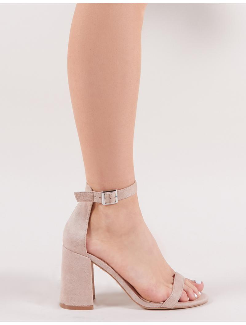 92ff6c386 Public Desire Grier Block Heel Barely Theres In Nude Faux Suede - Lyst
