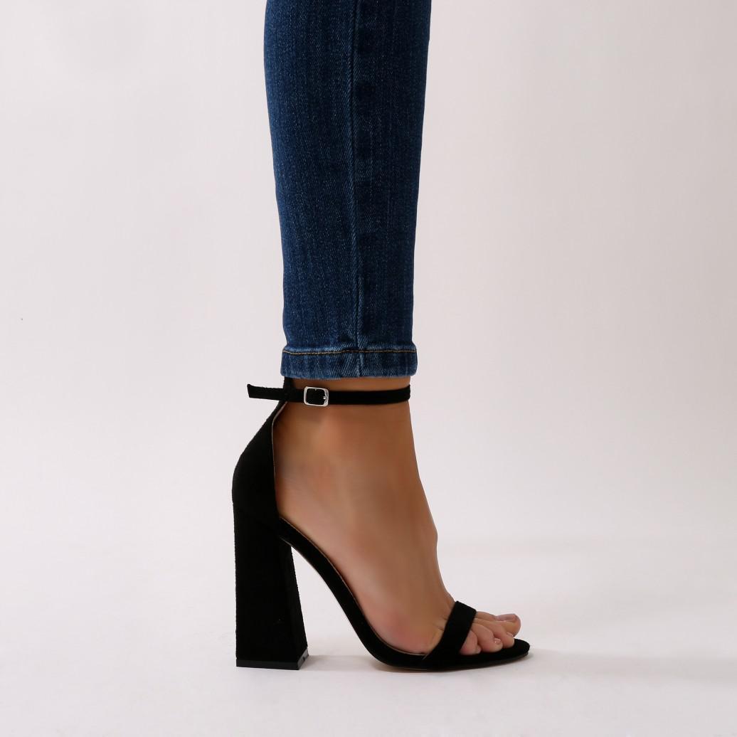 Public Desire Tess Block Heels in Faux Suede yNF18