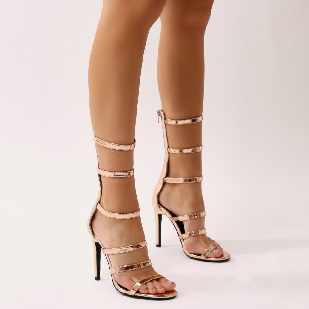Public Desire Jazz Knee High Strappy Embellished Heels in Lime Satin Z9rok