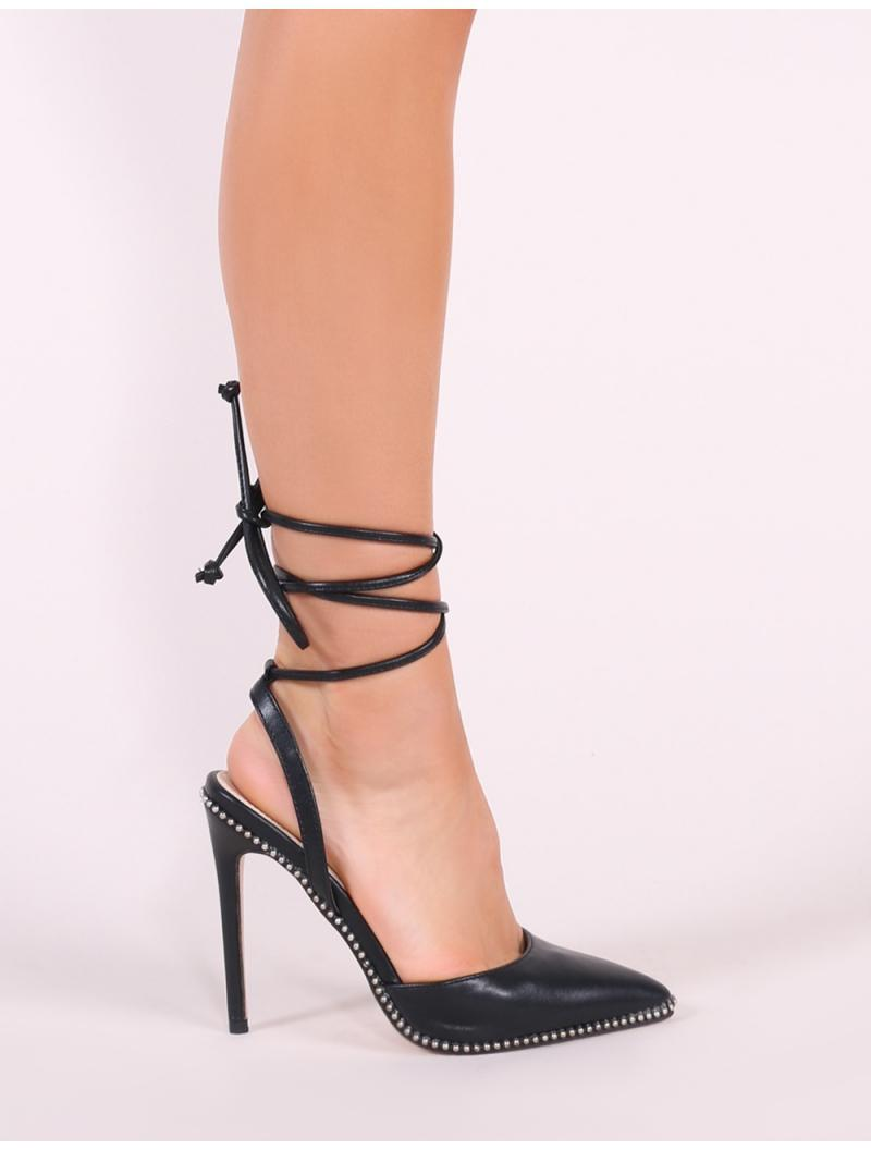502f2b37c37 Lyst - Public Desire Qween Stud Lace Up Court Heels In Black in Black