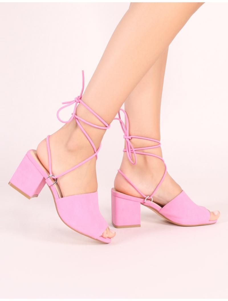 6bc57b83e06f Lyst - Public Desire Paddington Lace Up Block Heeled Mules In Pink ...