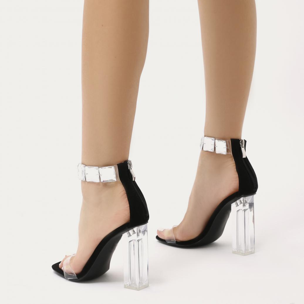 39892e30fb Public Desire Spirit Square Gem Strap Perspex High Heels In Black ...