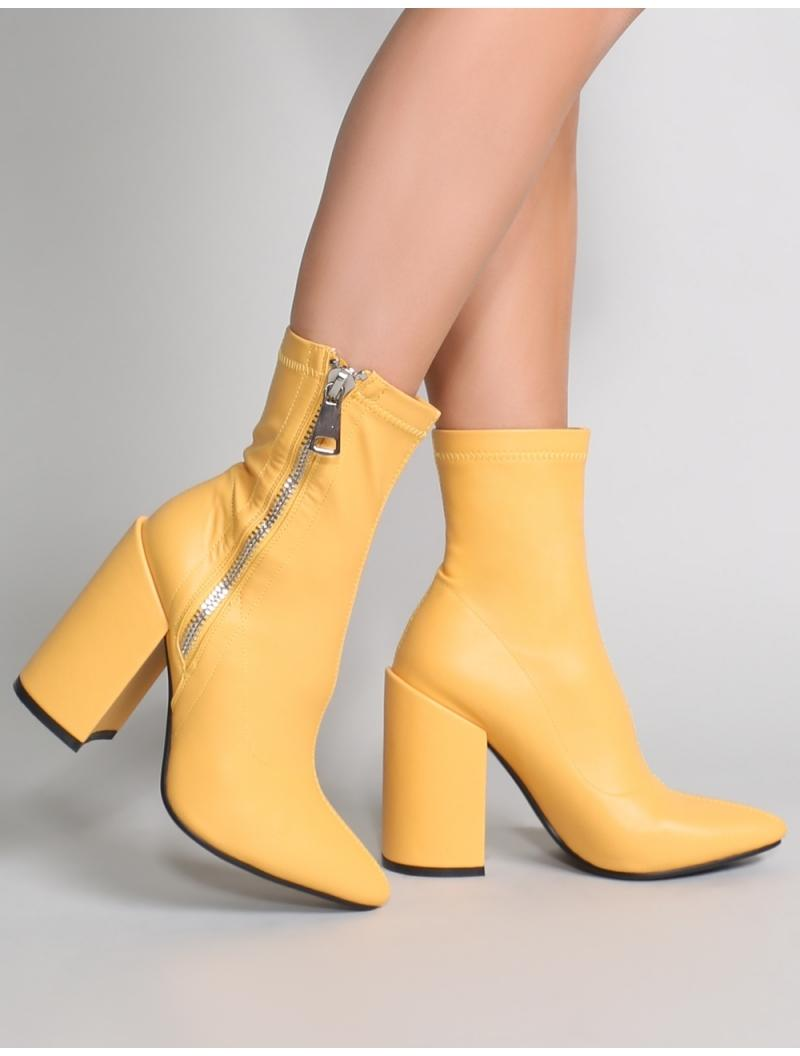 86f10e6855b Public Desire Renzo Sock Fit Ankle Boots In Yellow in Yellow - Lyst