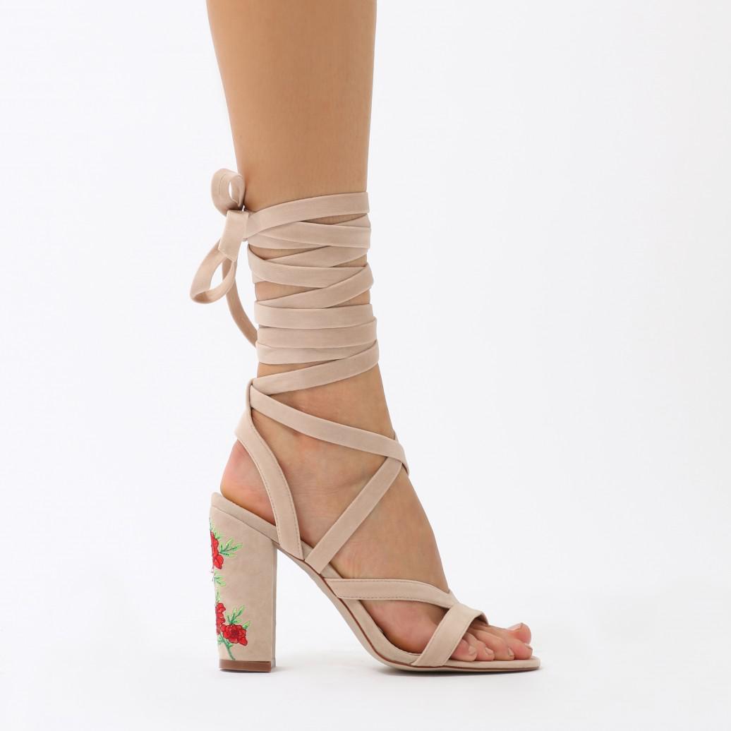 a20babbc1b6 Lyst - Public Desire Gemini Embroidered Block Heel Lace Ups In Nude ...