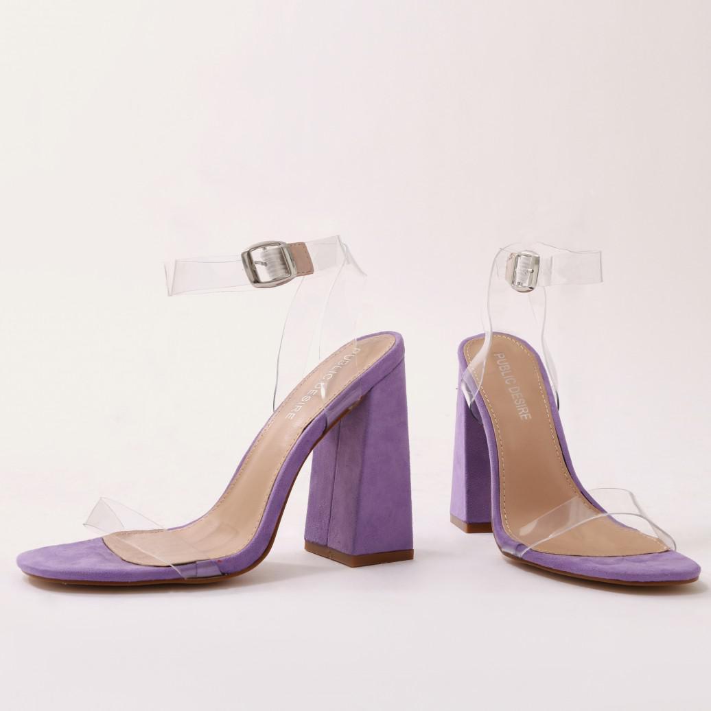 98ed72aa47d Lyst - Public Desire Charlotte Perspex High Heels In Purple Faux ...