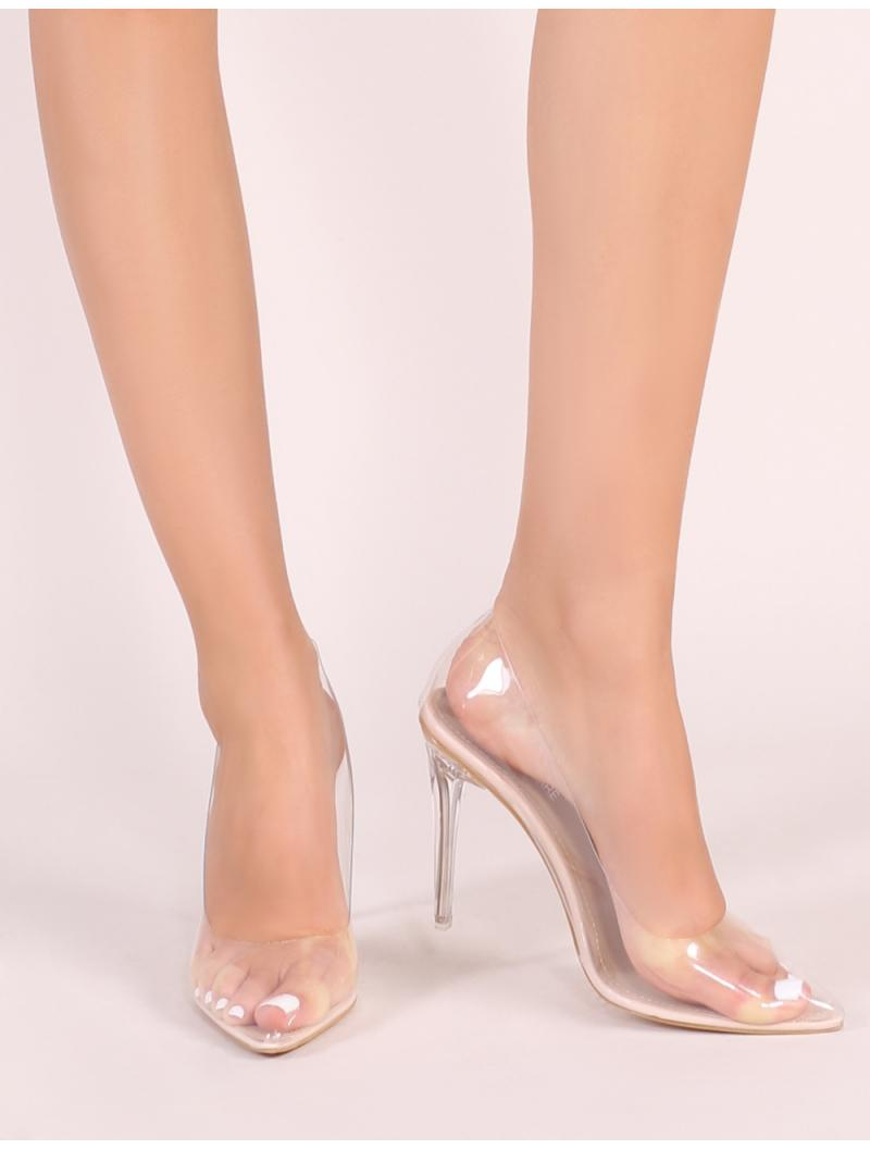 3e090b1fe9f Lyst - Public Desire Drank Perspex Court Heels In Nude in Natural