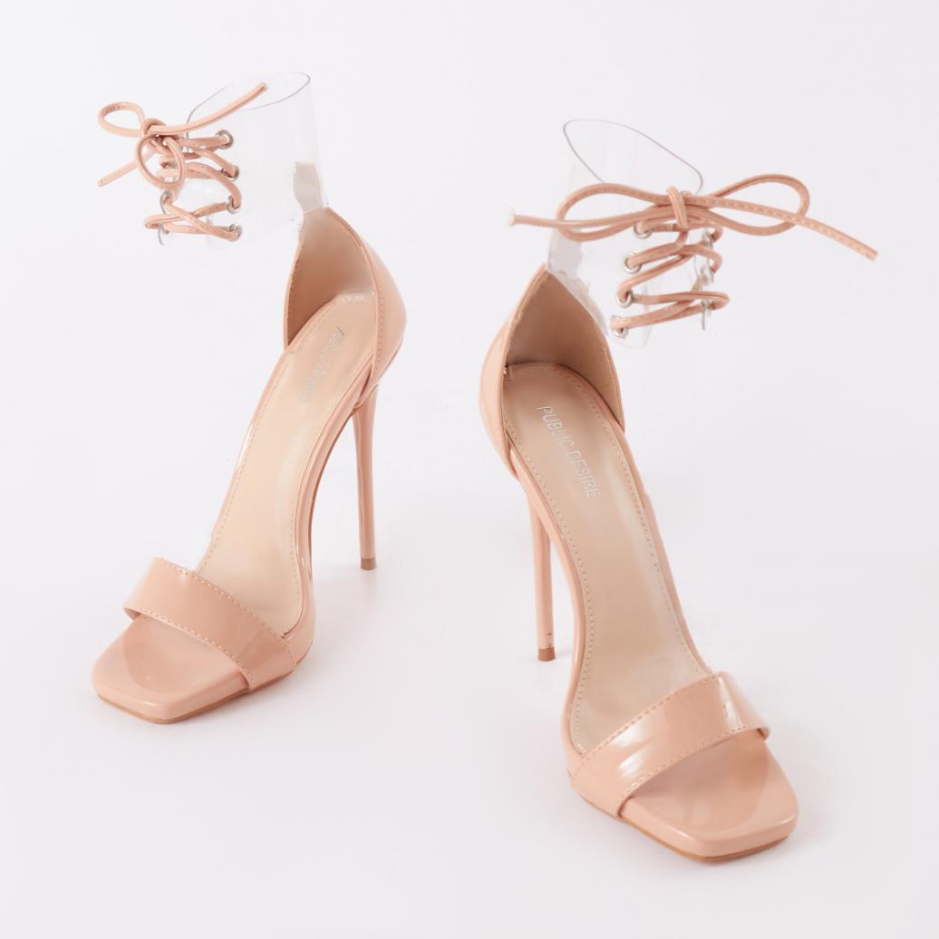 3b8e0bf93c9 Public Desire Empress Perspex Cuff Heels In Nude Patent in Natural ...