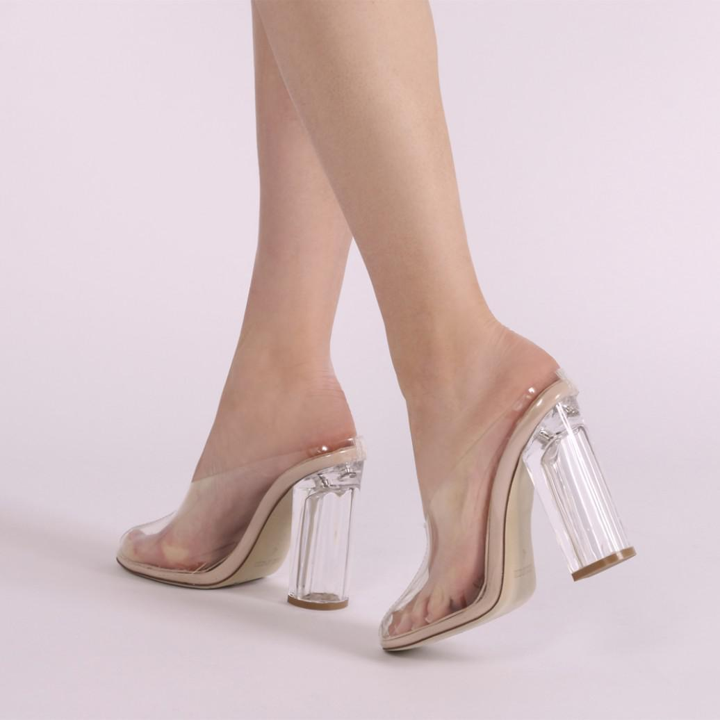 6d980b2d11 Public Desire Amora Block Lucite Heeled Mules In Clear And Nude ...