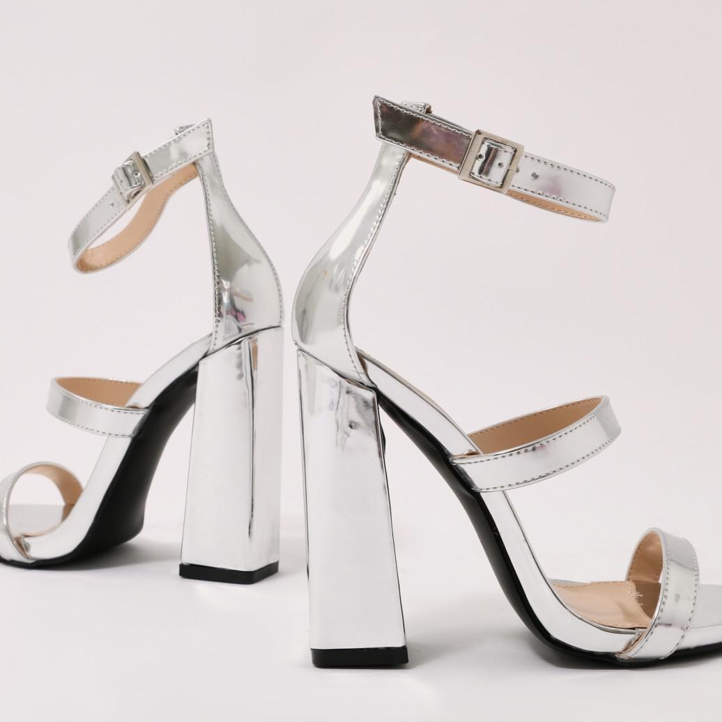 48aa94212ea Lyst - Public Desire Oyster Triple Strap Flared Block Heels In Silver