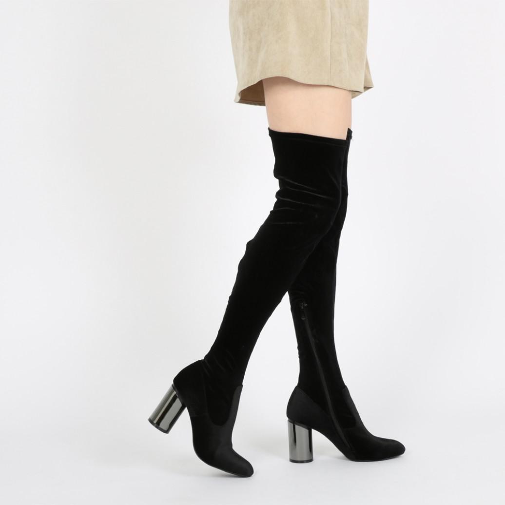 Public Desire Ellis Mirrored Heel Long Boots In Black