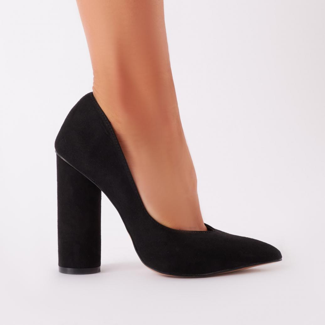 58b8cab4713 Lyst - Public Desire Eternal Block Heel Courts In Black Faux Suede ...