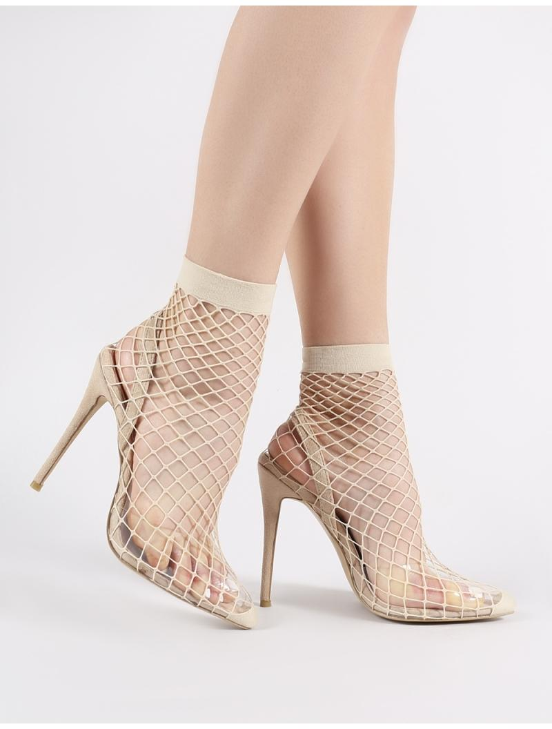 cca825f3230 Lyst - Public Desire Wink Clear Perspex Fishnet Heels In Nude in Natural