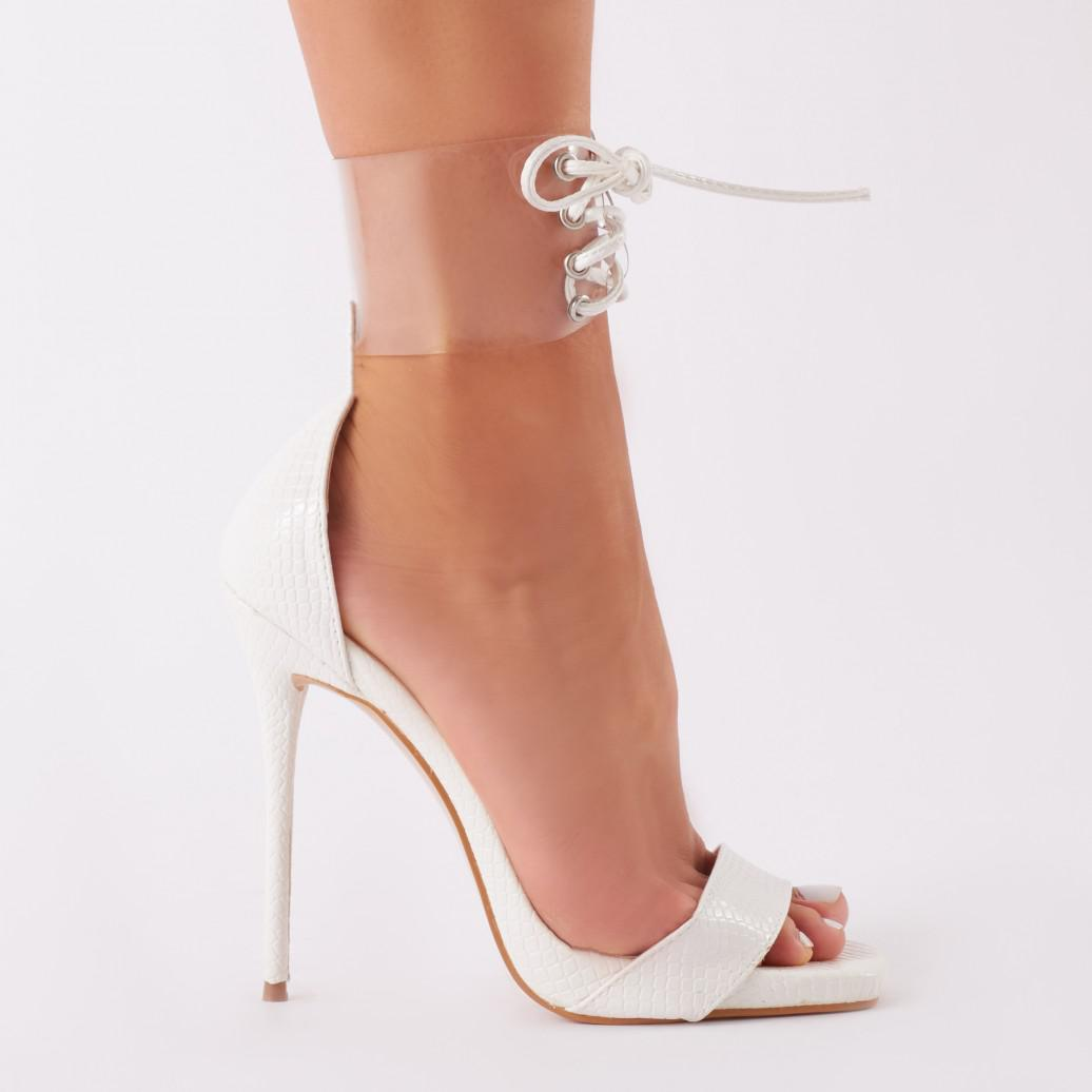 756ad3aa23b Lyst - Public Desire Empress Perspex Cuff Heels In White Patent in White