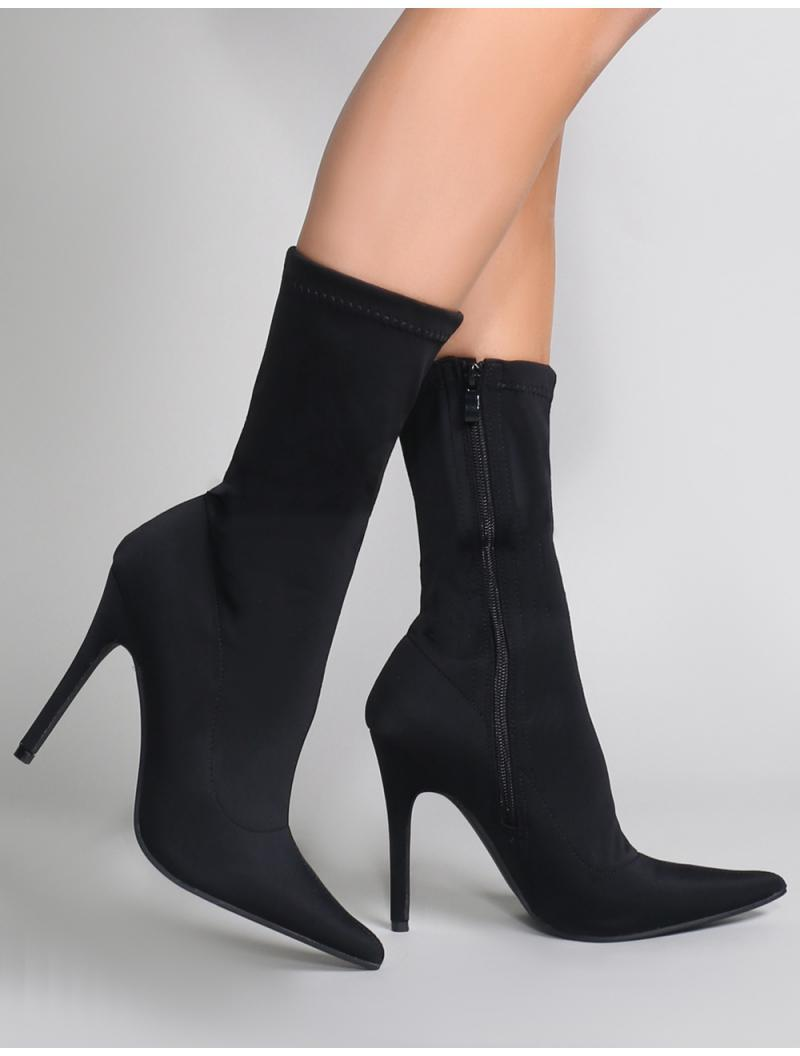 17d3fce9b8a Lyst - Public Desire Direct Pointy Sock Boots In Black Stretch in ...