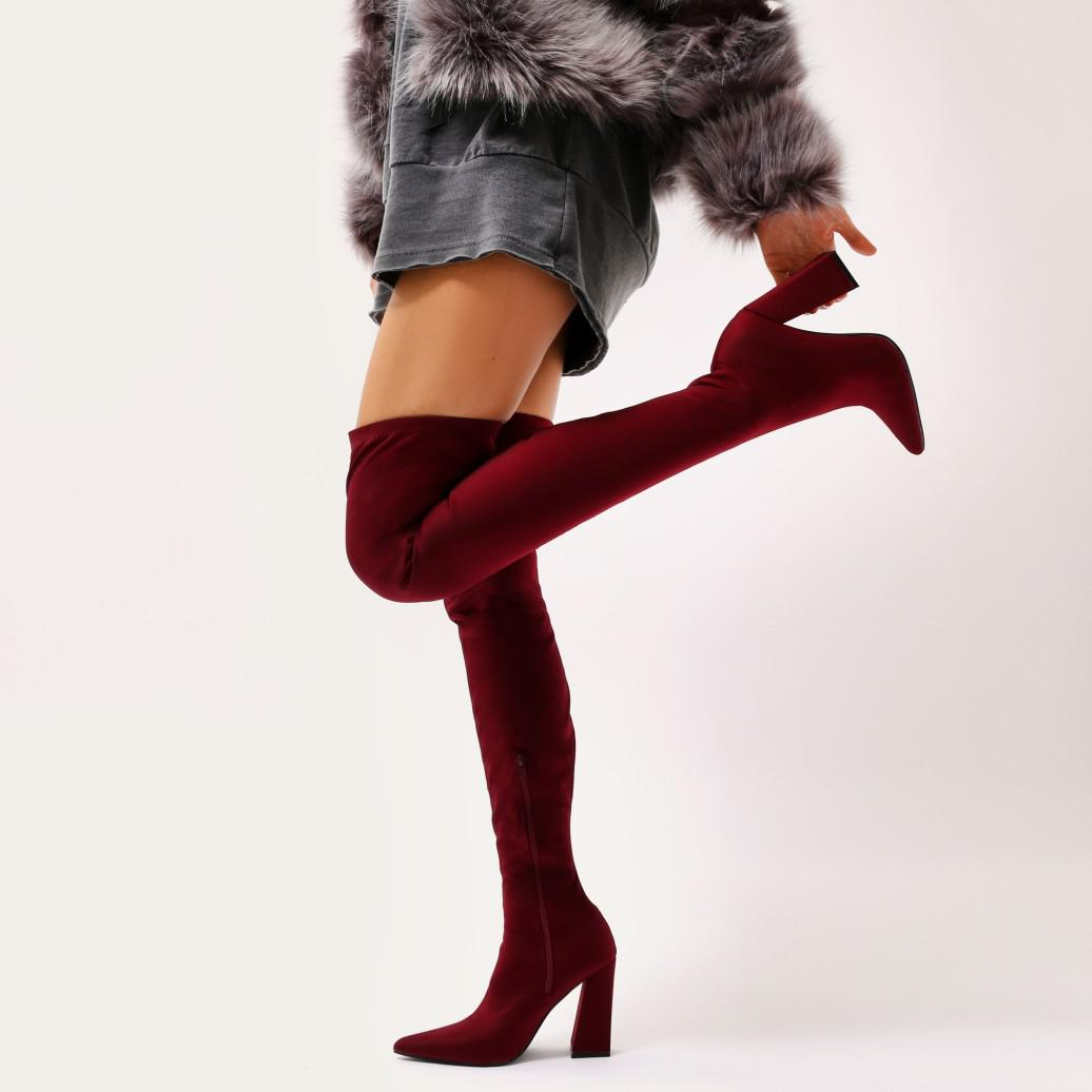 b9b5ed5597 Public Desire Swoon Sock Fit Pointed Toe Over The Knee Boots In ...