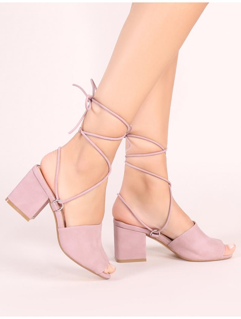 6e1577f170fb Public Desire. Women s Purple Paddington Lace Up Block Heeled Mules ...