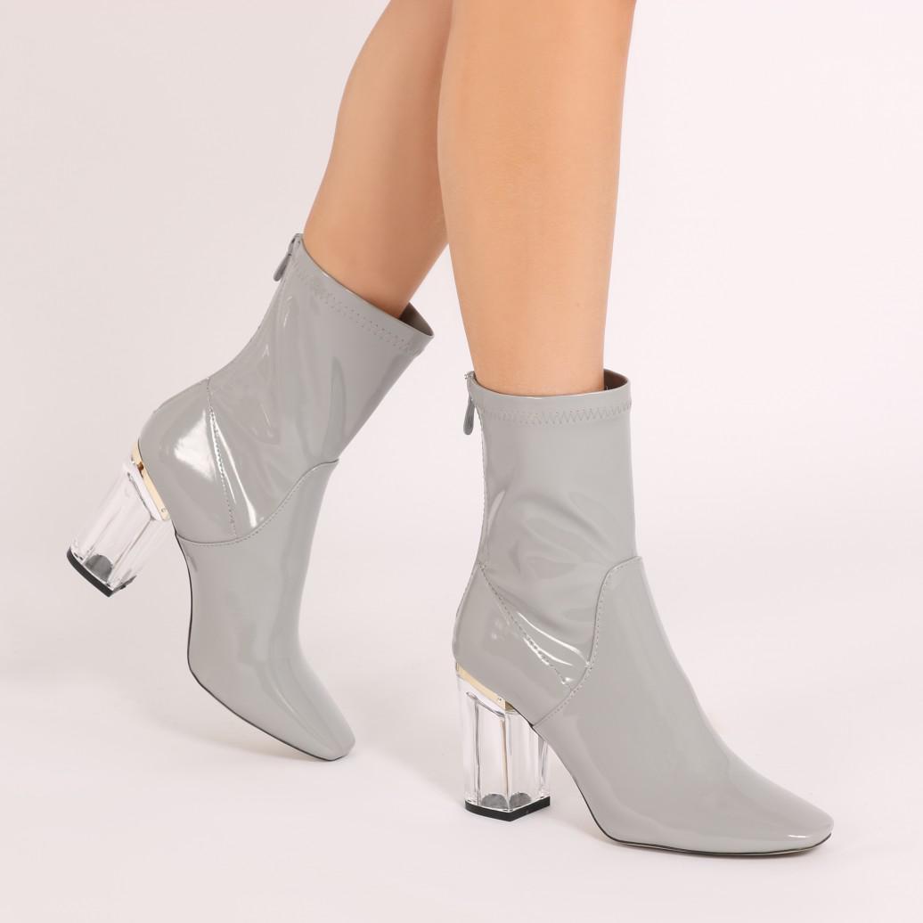 Public Desire Woke Clear Perspex Heel Ankle Boots in Lilac 6N7J7v6kZ