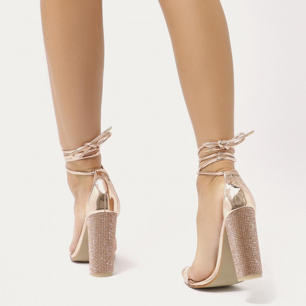 36299099c78 Lyst - Public Desire Fatale Diamante Perspex Lace Up Heels In Rose Gold