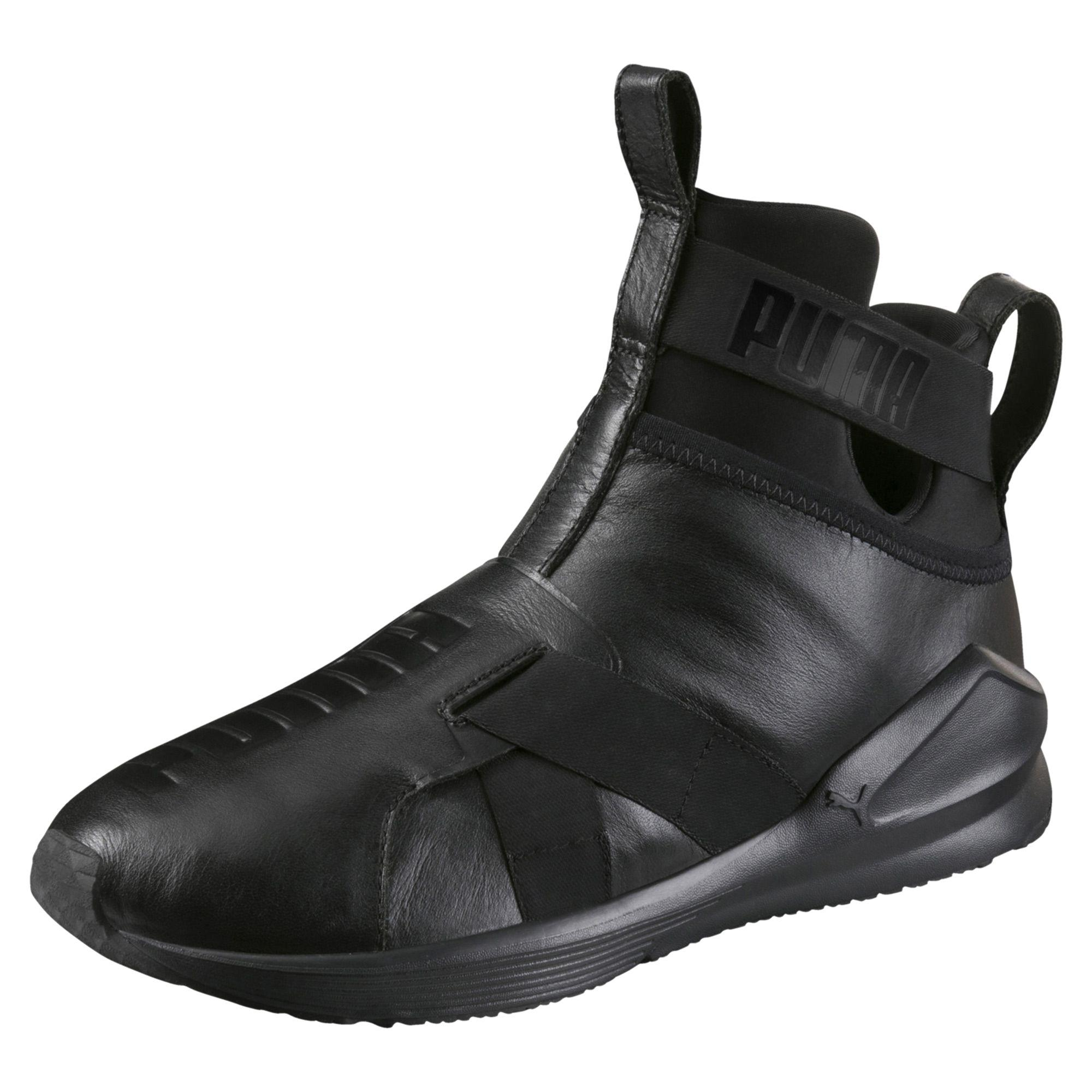85a897518152 Lyst - PUMA Fierce Strap Leather Women s Training Shoes in Black