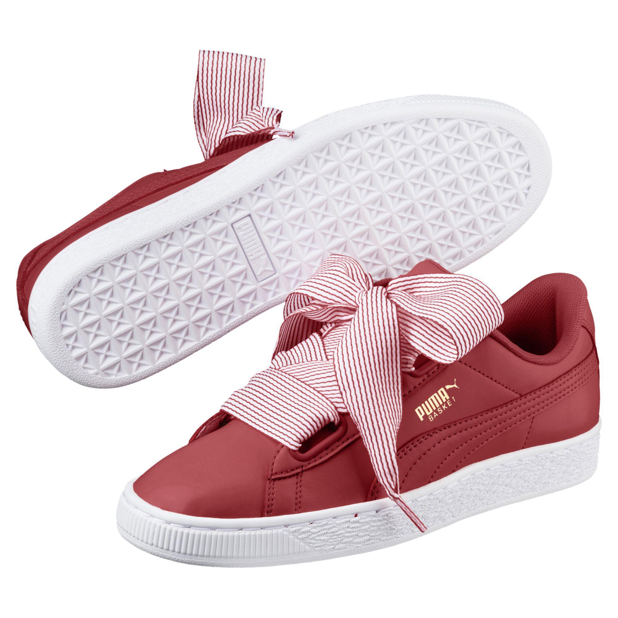 8ec55b3160483c Lyst - PUMA Basket Heart Women s Sneakers in Red