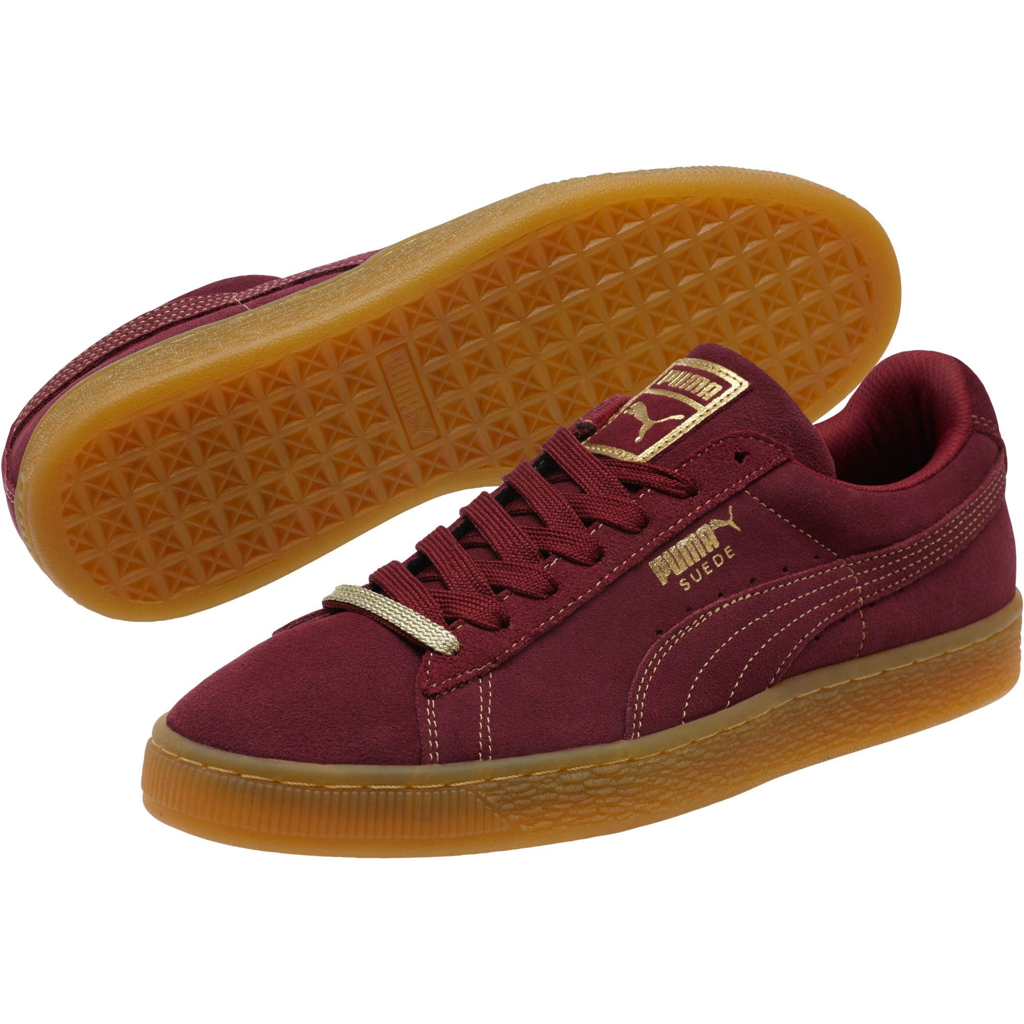 55dc7a915ccc Lyst - Puma Suede Classic Gold Foil Mens Sneakers in Red for ...