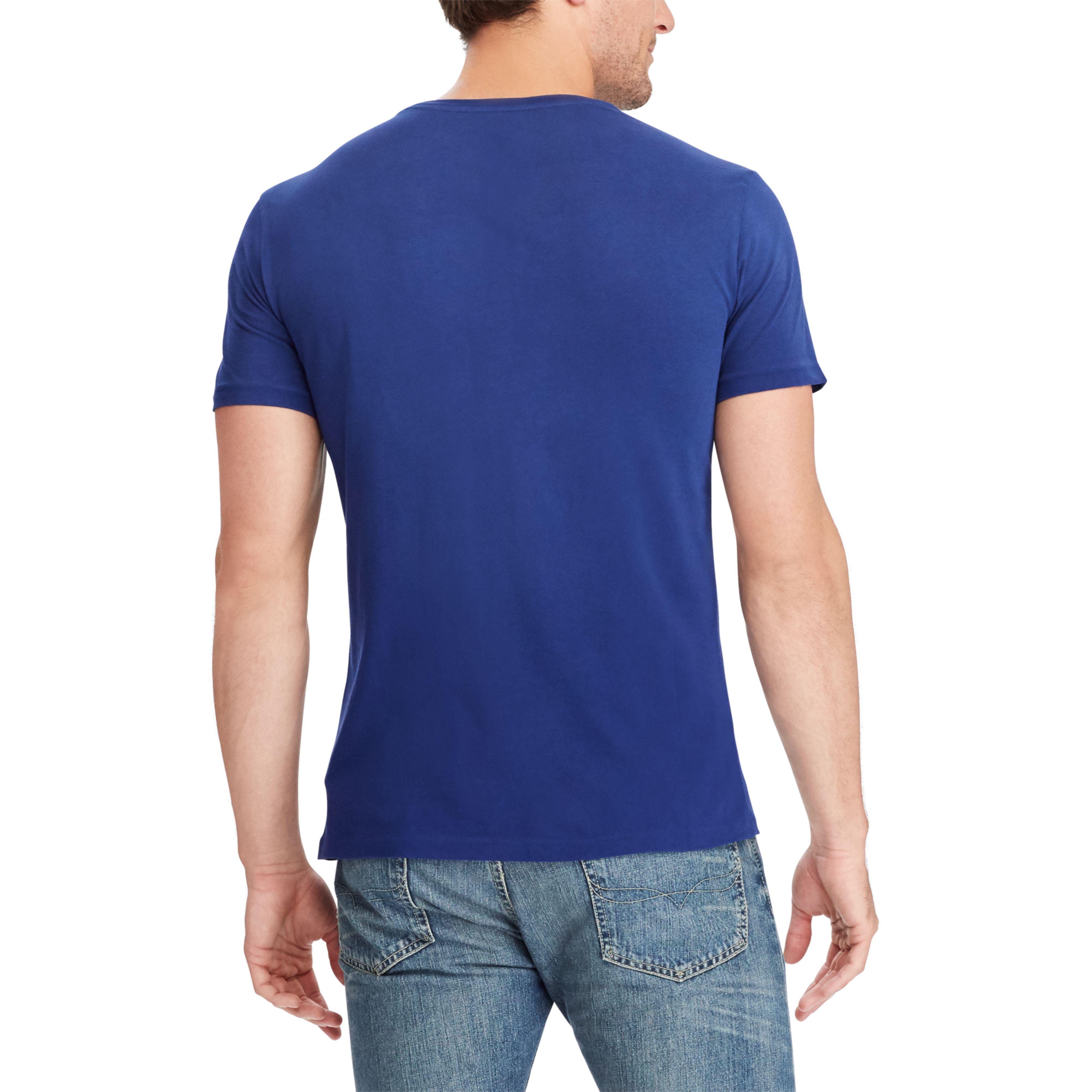 87c9892a3 Lyst - Polo Ralph Lauren Custom Slim Fit Cotton T-shirt in Blue for Men