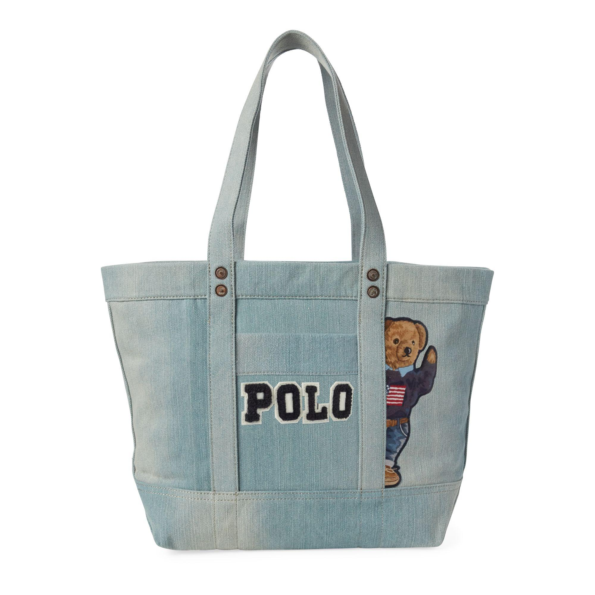 051bf537f0 Polo Ralph Lauren Canvas Polo Bear Tote Bag in Blue - Lyst