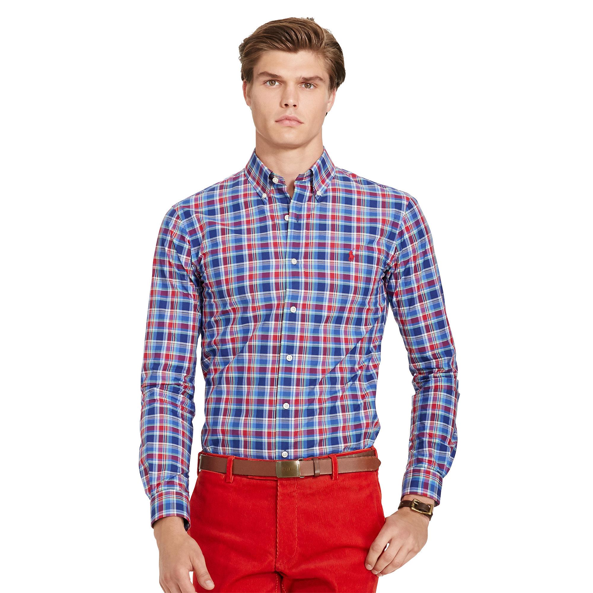 1a3c7e0311a3 ... promo code for lyst polo ralph lauren plaid poplin sport shirt in blue  for men 43388
