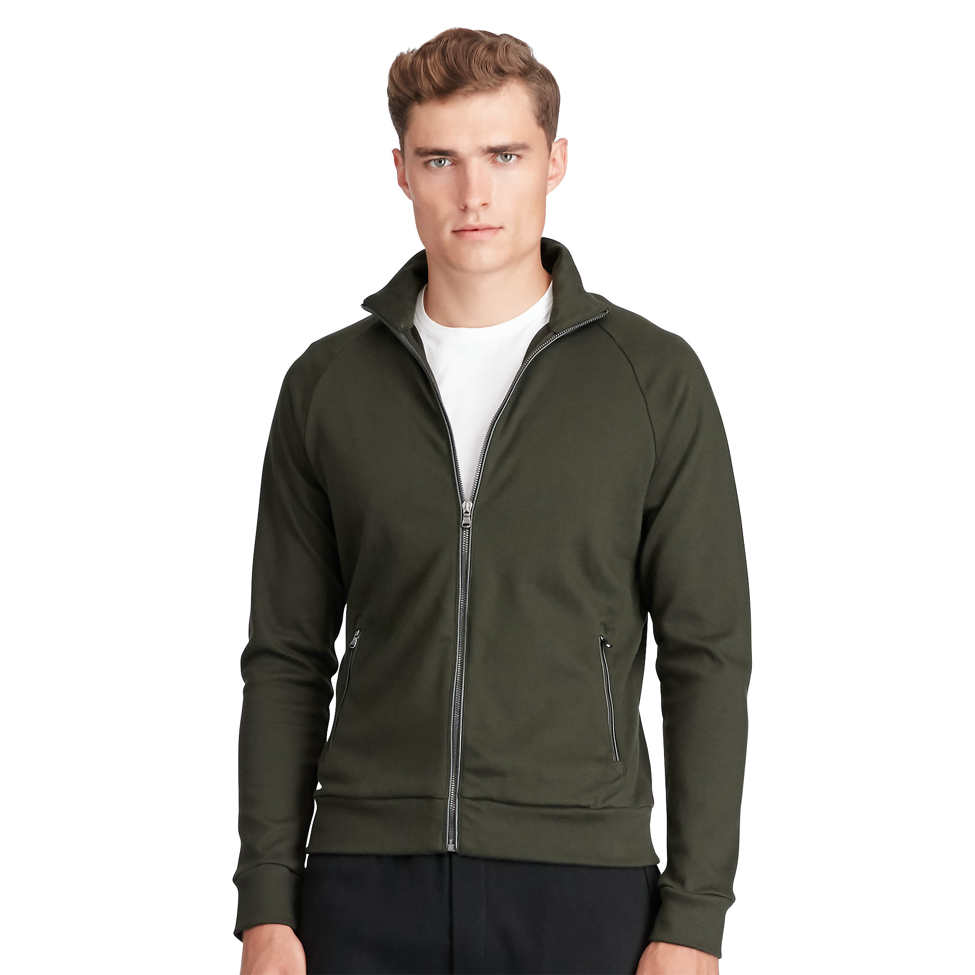 50f7447353a6 Lyst - Polo Ralph Lauren Leather-trim Cotton Jacket in Green for Men
