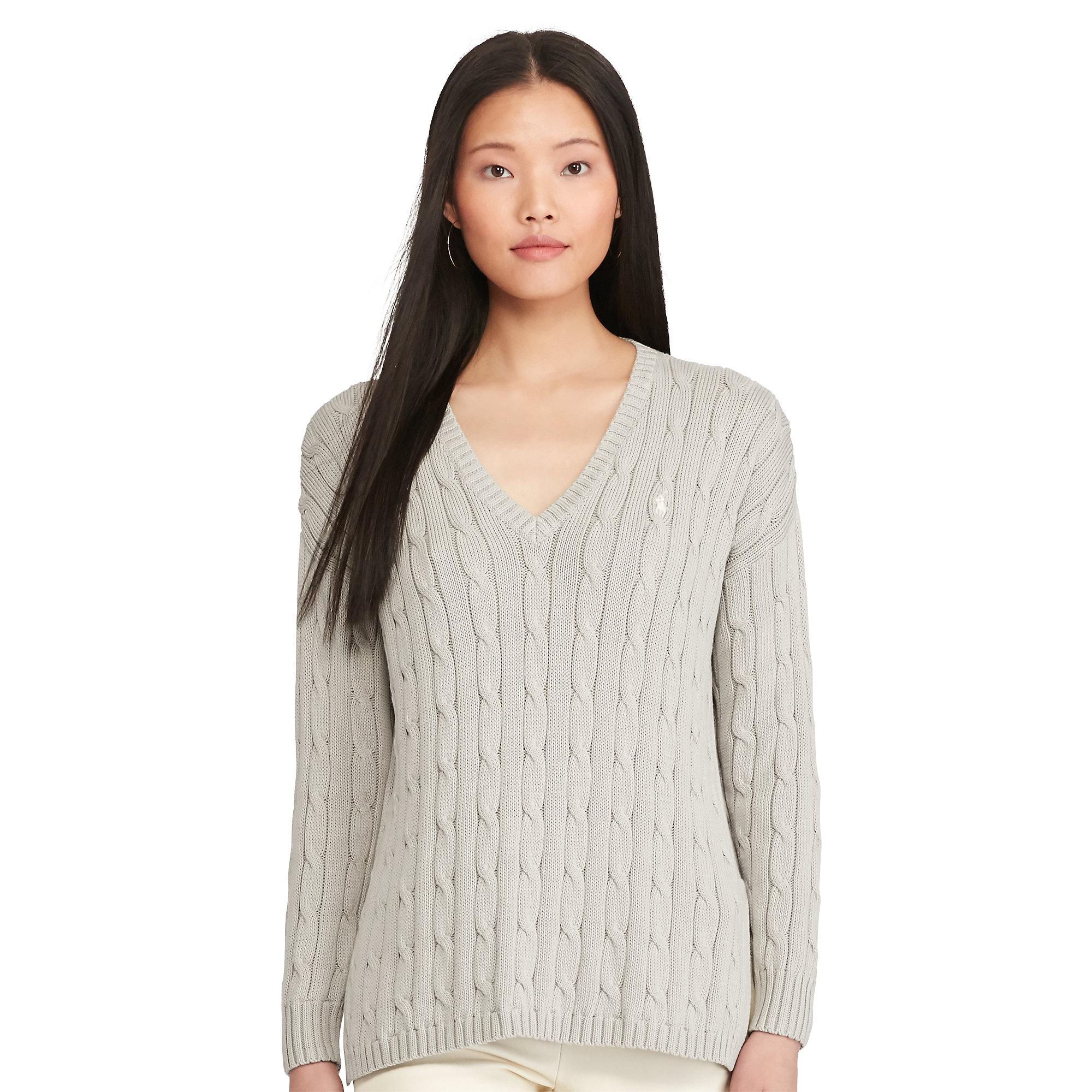 629514dbc Polo Ralph Lauren Cable-knit Side-slit Sweater in Gray - Lyst