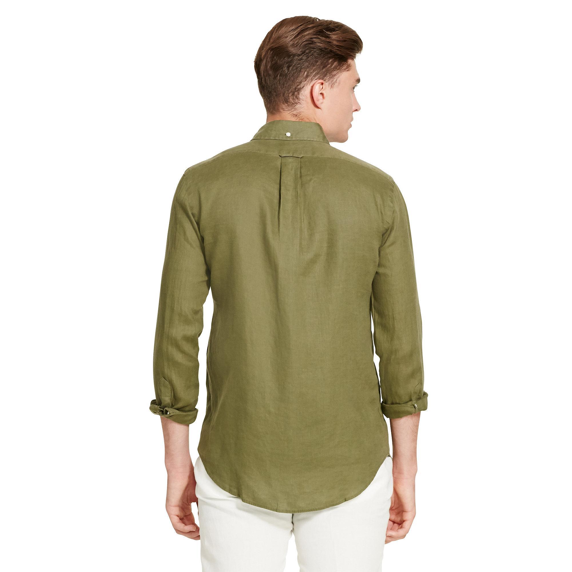 850d037e147e uk closeout lyst polo ralph lauren linen utility shirt in green for men  e5190 50a46 02eb9