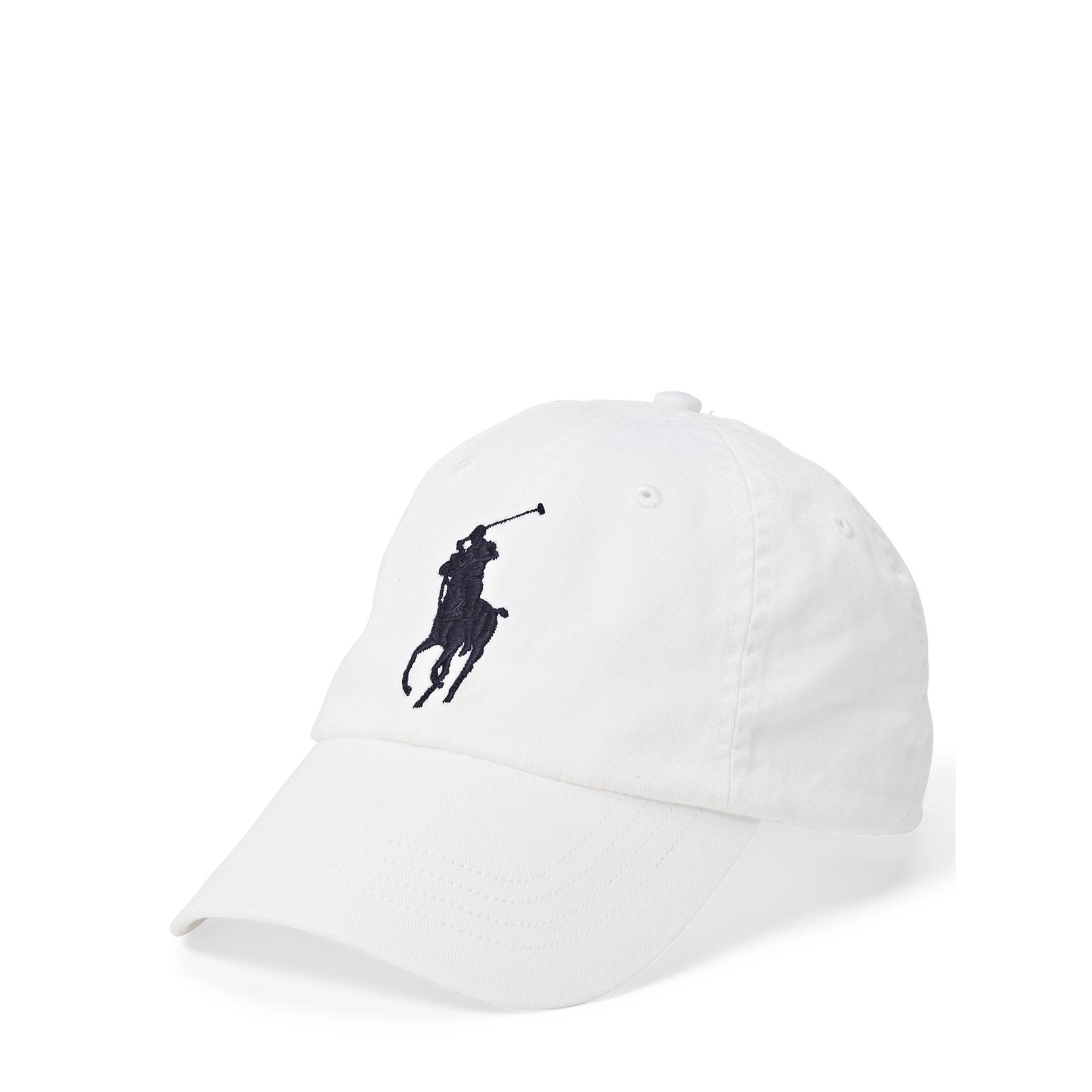 polo ralph lauren cotton chino sport cap in white for men. Black Bedroom Furniture Sets. Home Design Ideas