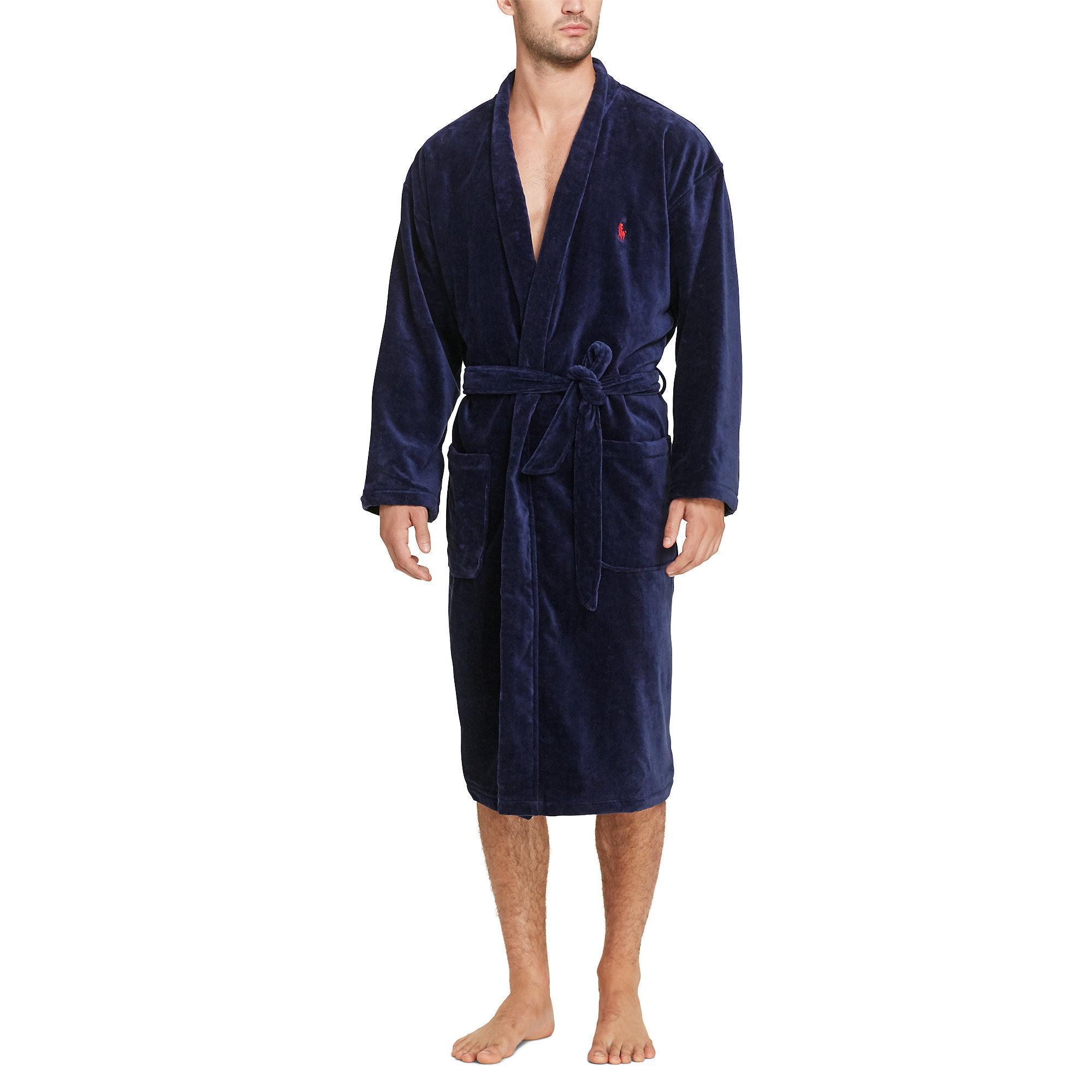 polo ralph lauren terry kimono robe in blue for men lyst. Black Bedroom Furniture Sets. Home Design Ideas