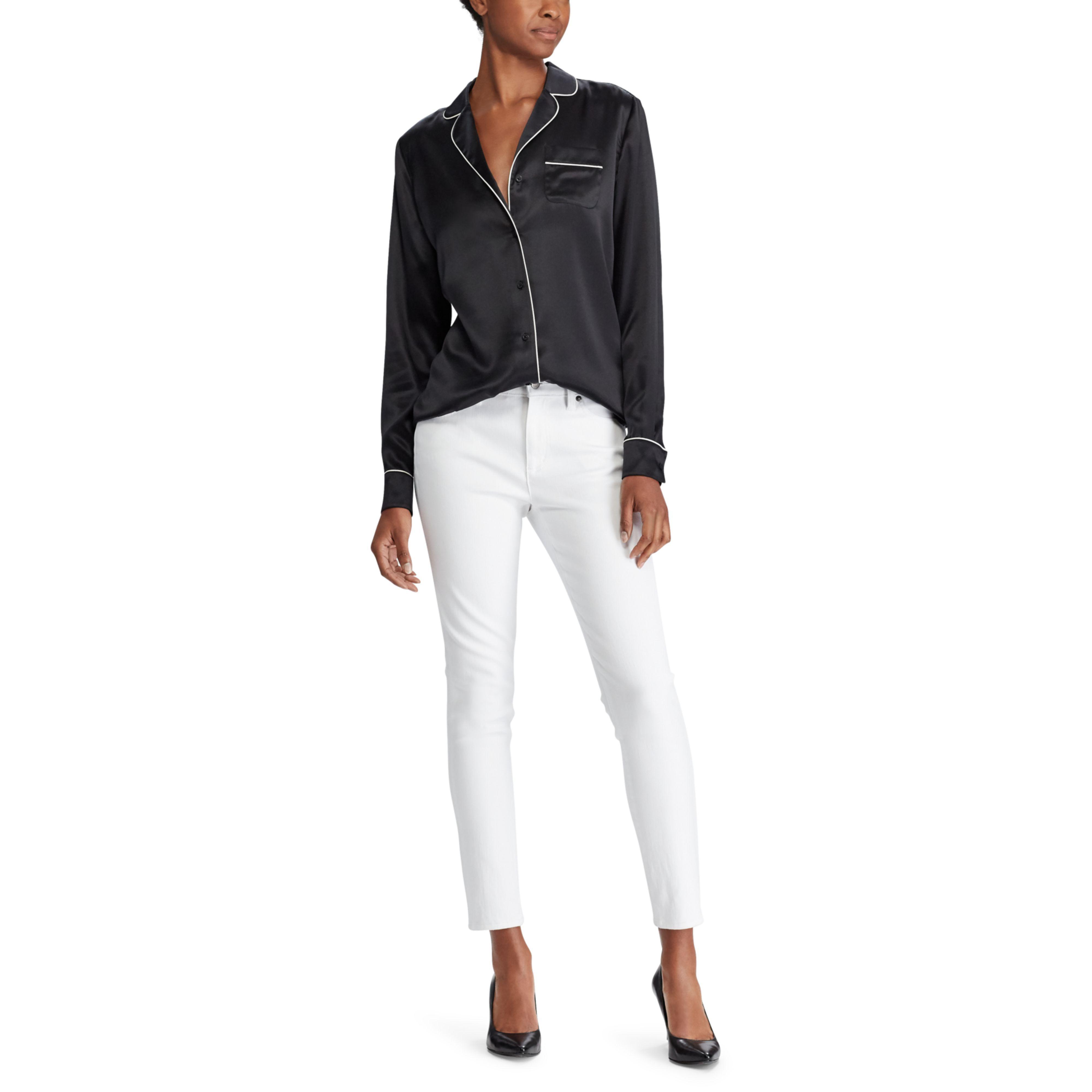 ca900b884c Lyst - Ralph Lauren Silk Charmeuse Pajama Shirt in Black