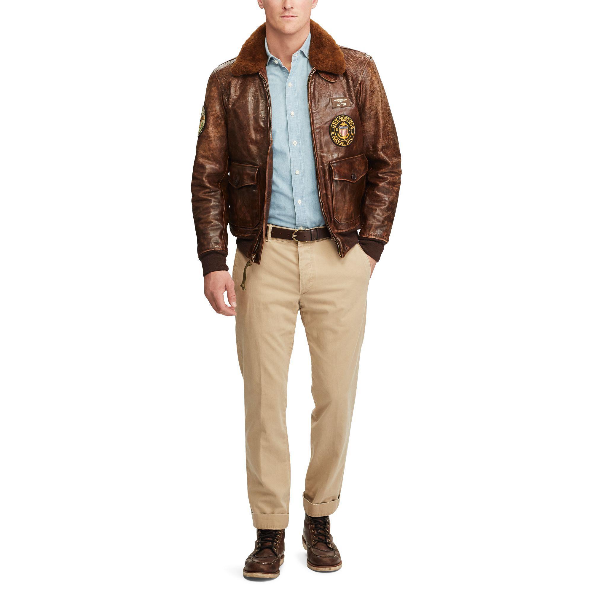 c5684e7b840 Polo Ralph Lauren - Brown The Iconic G-1 Bomber Jacket for Men - Lyst. View  fullscreen