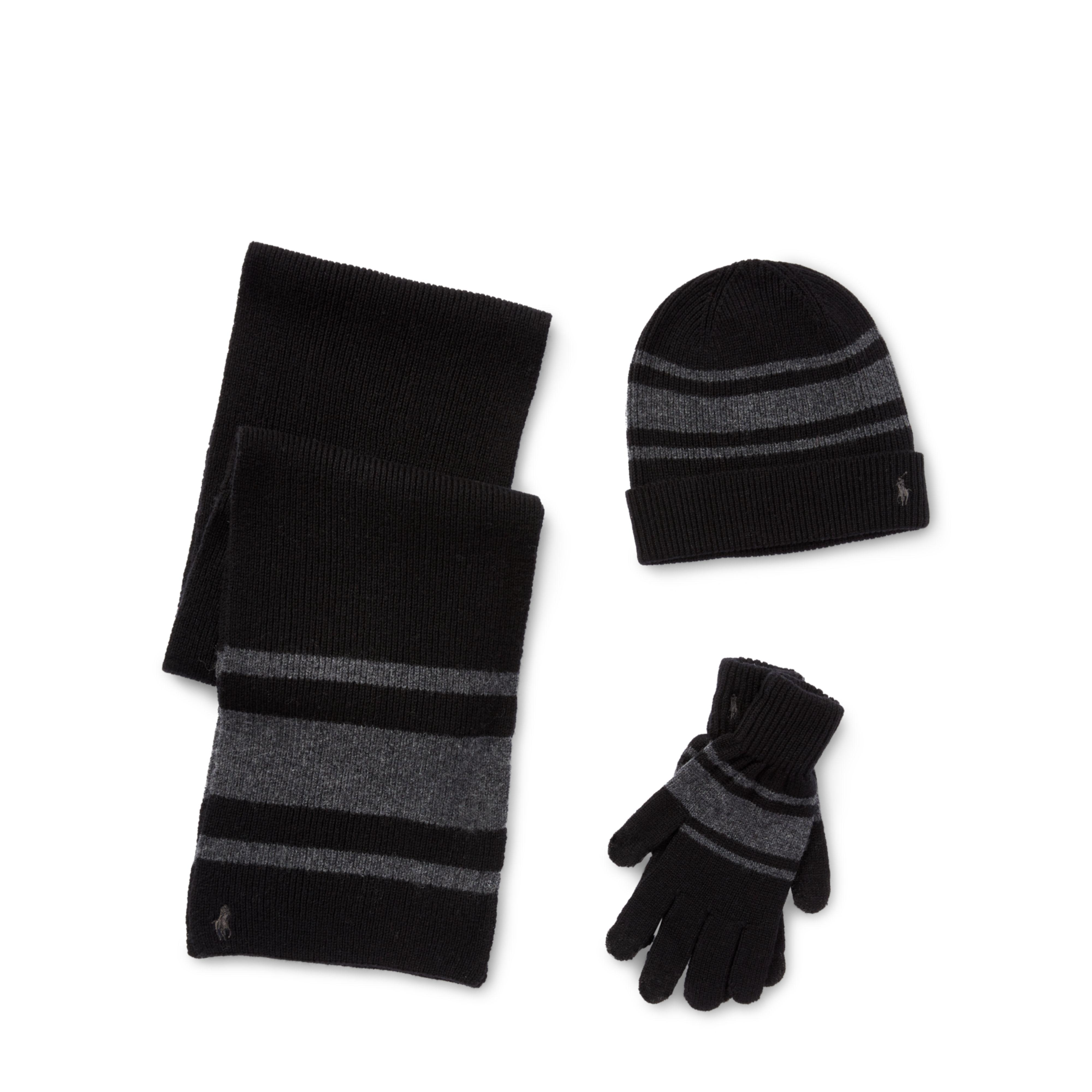 4ec729316dd ... get lyst polo ralph lauren striped hat scarf glove set in black for men  83e12 066f7