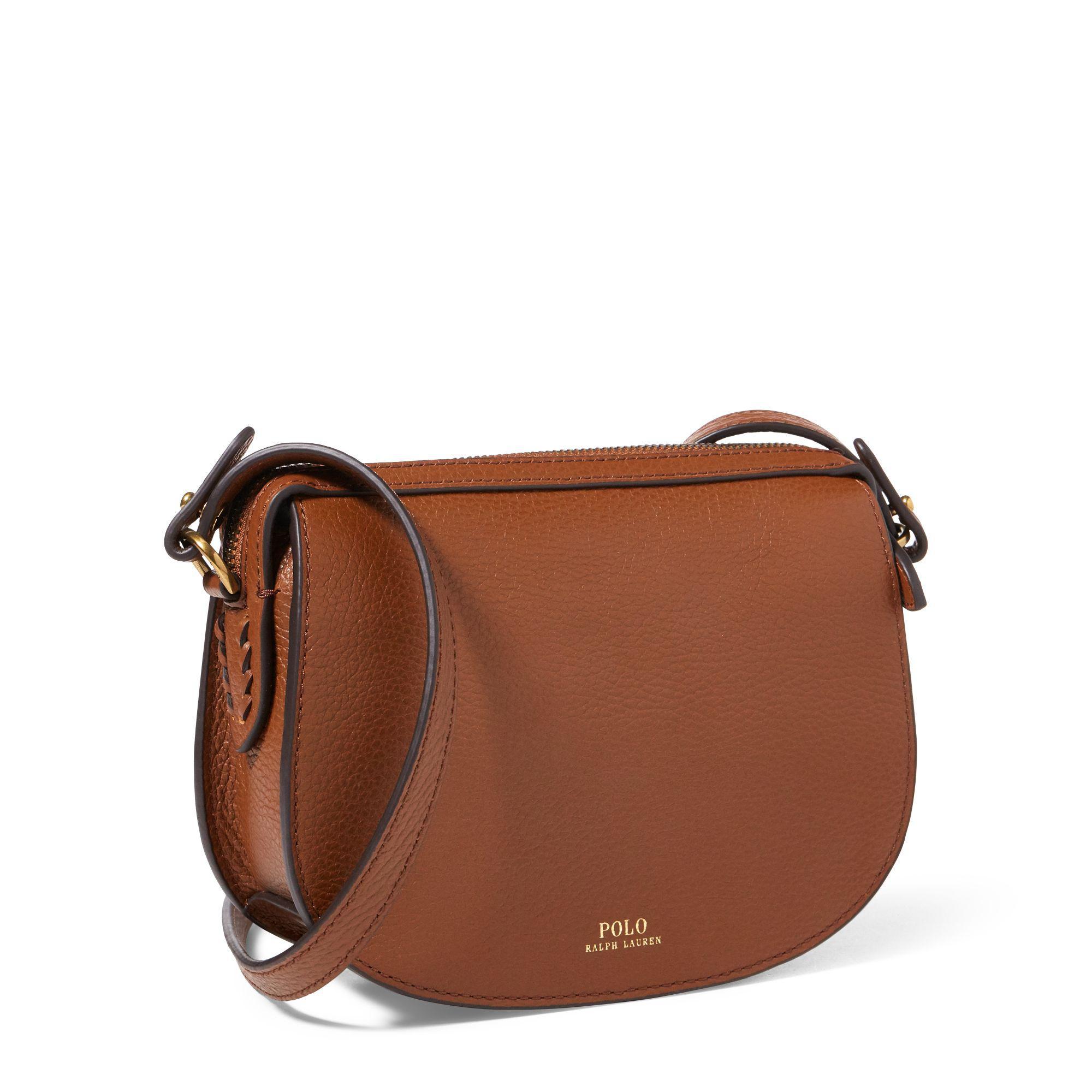 8c5d0d6cb030 ... uk polo ralph lauren leather mini crossbody bag in brown lyst 04577  f2ef1