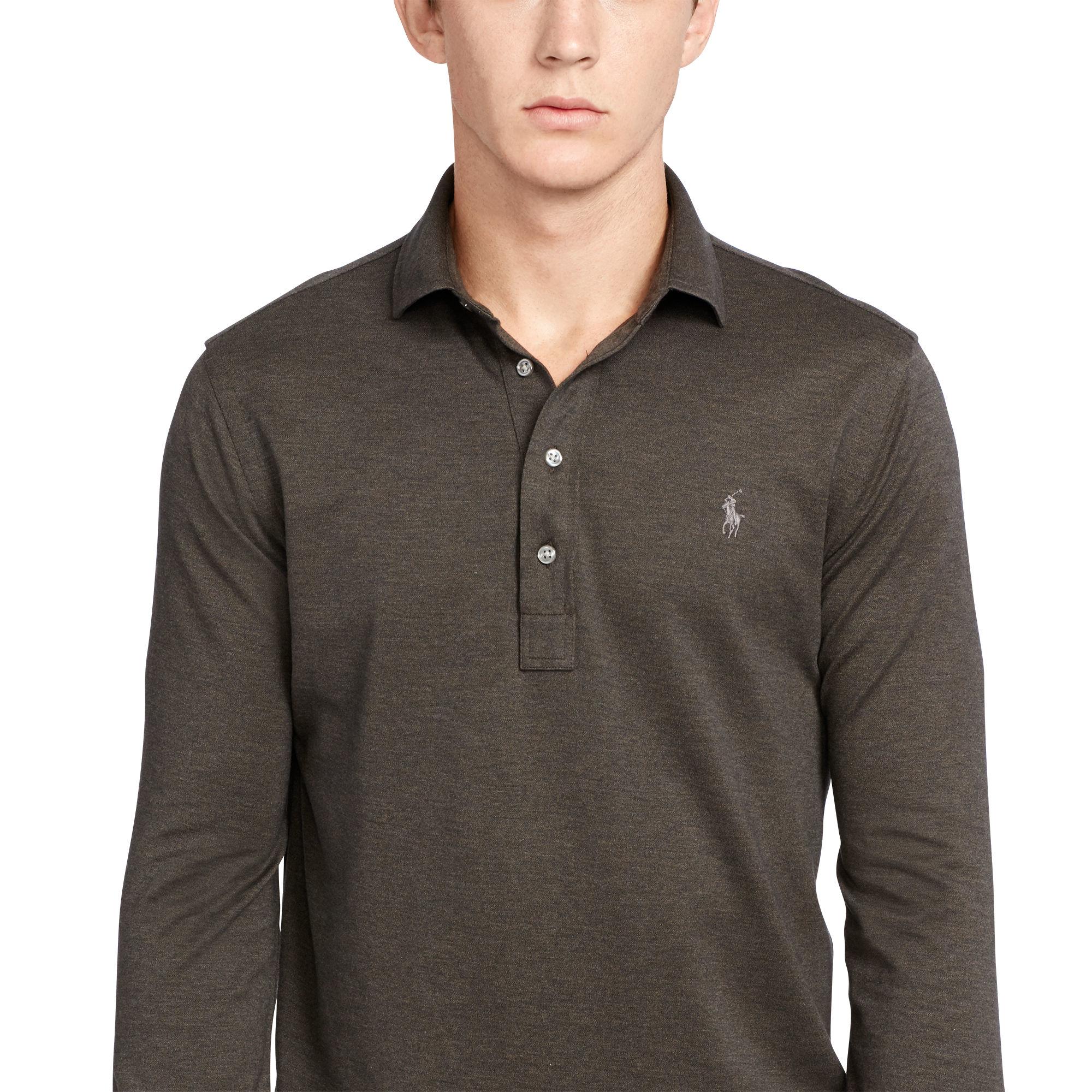 lyst polo ralph lauren baumwollhemd custom fit popover in gray for men. Black Bedroom Furniture Sets. Home Design Ideas
