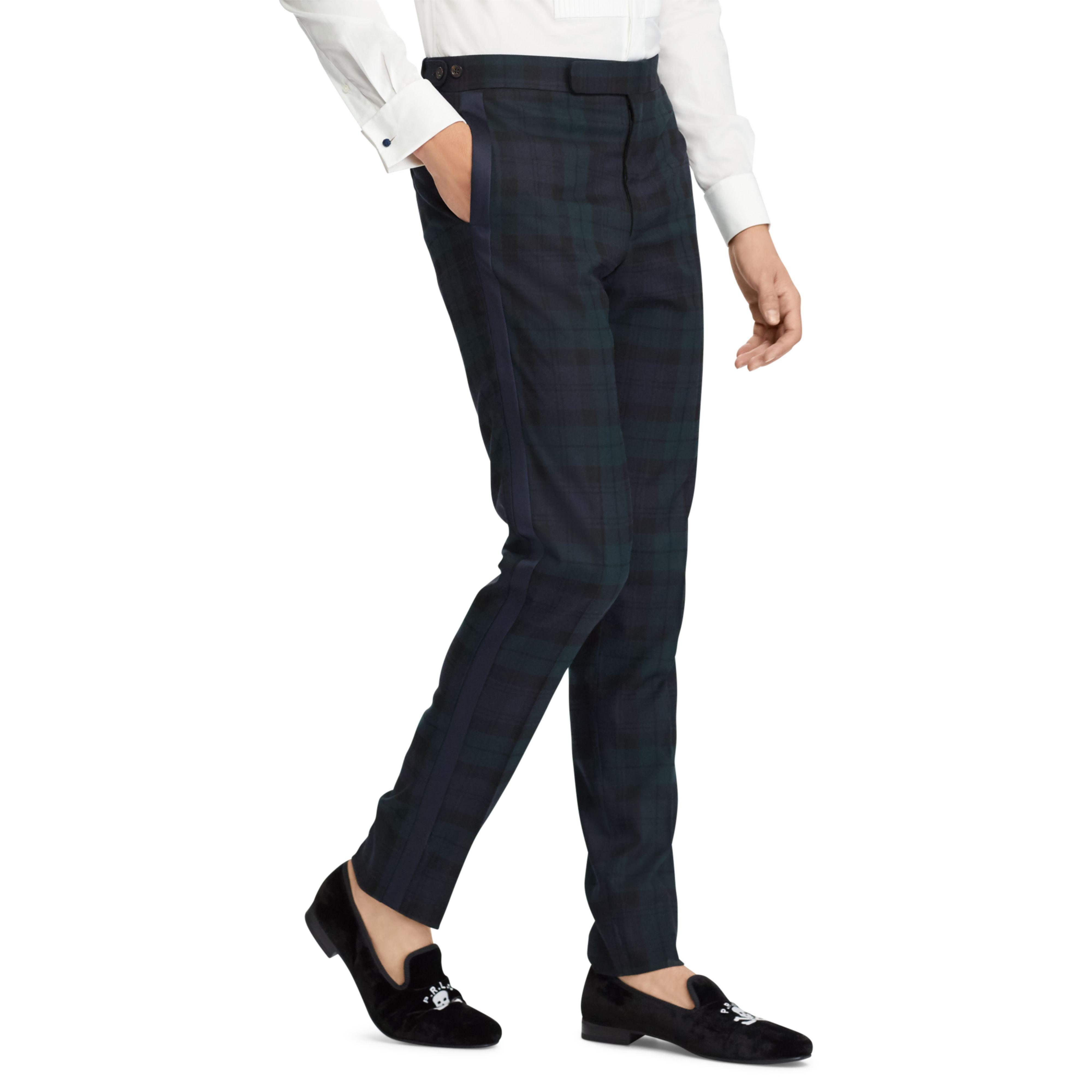 b1c48144c02 Lyst - Polo Ralph Lauren Tartan Tuxedo Trouser in Blue for Men