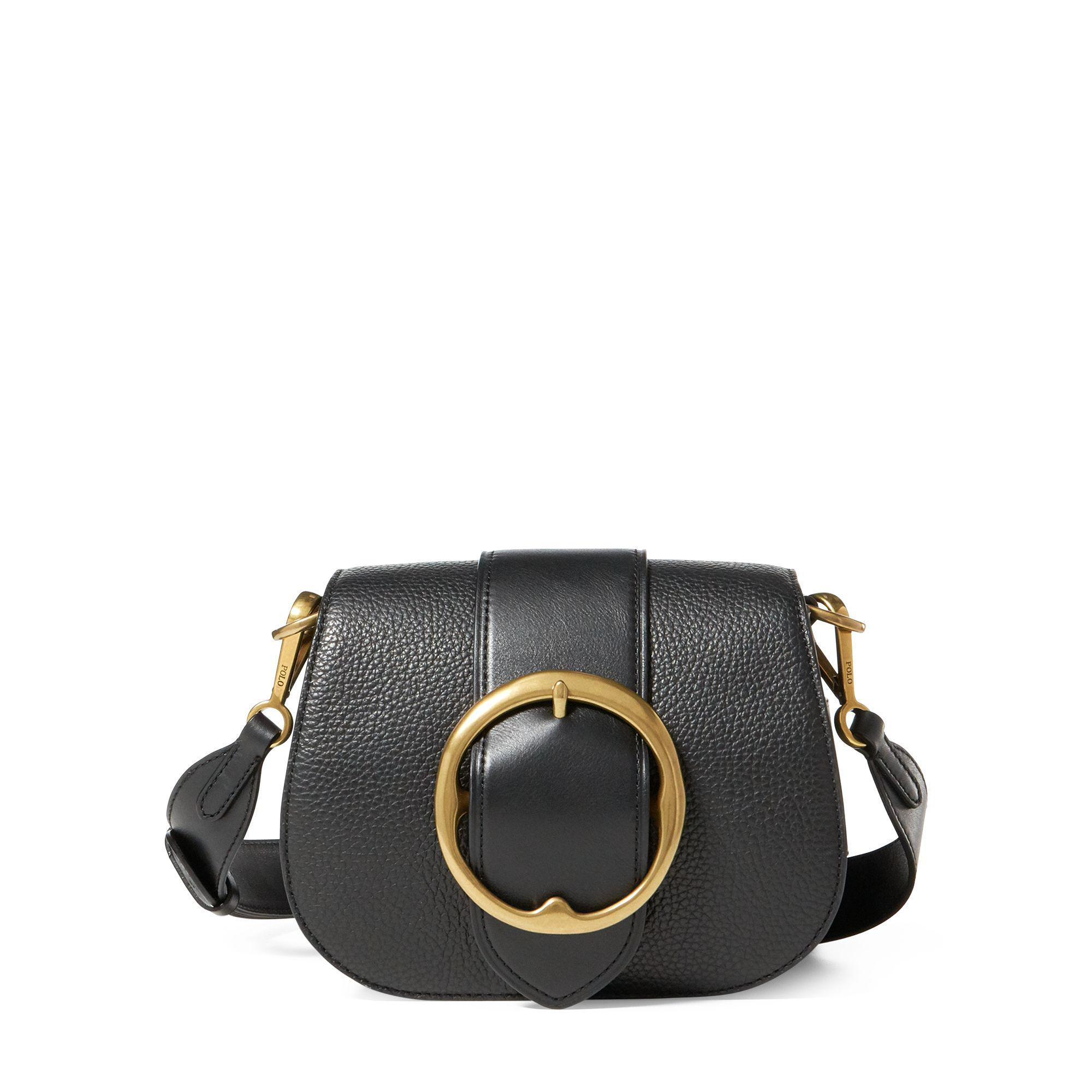 c2fa9d101f Lyst - Polo Ralph Lauren Pebbled Leather Lennox Bag in Black - Save 33%