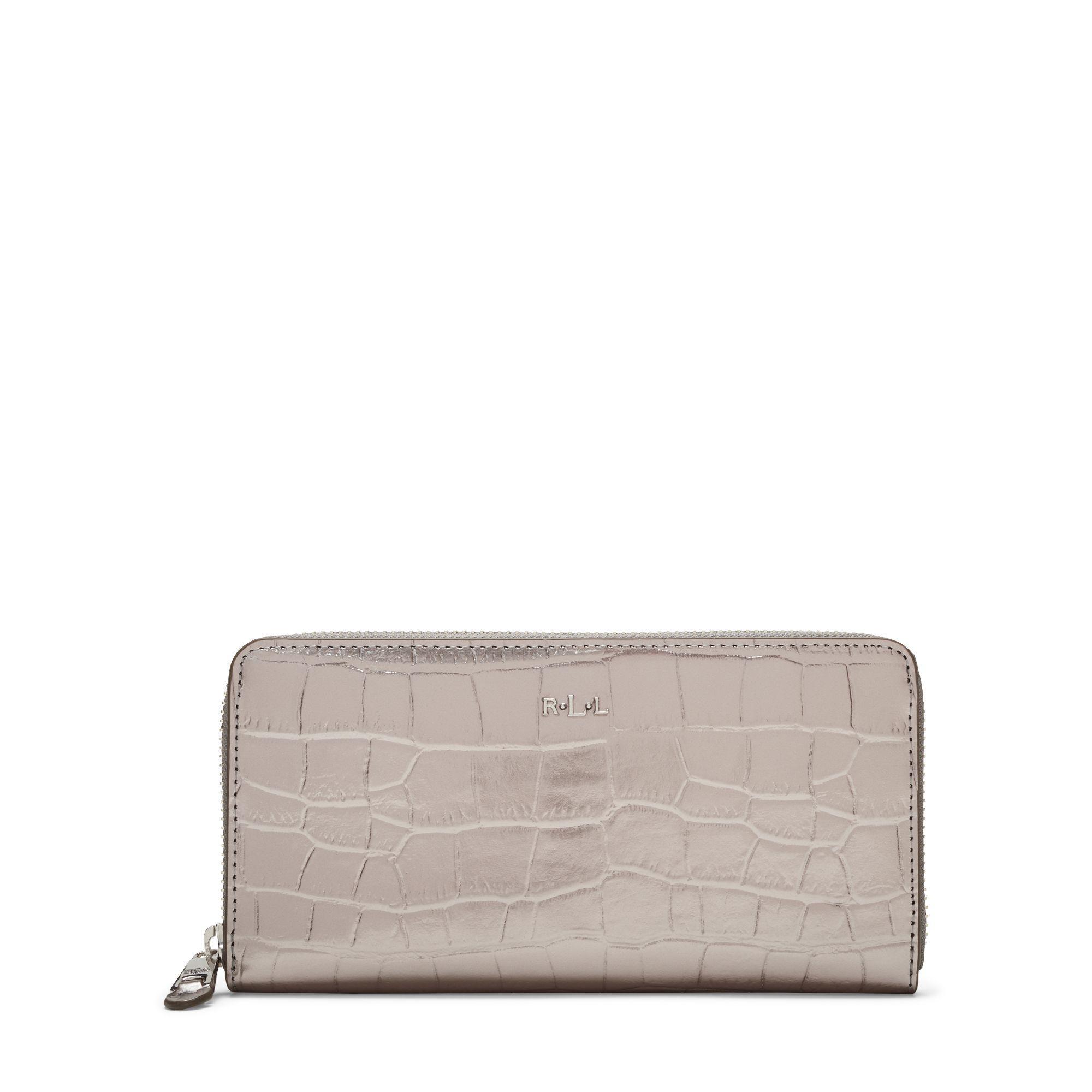 Ralph Lauren Embossed Newbury Zip Wallet in Metallic - Lyst e6ef178bcd