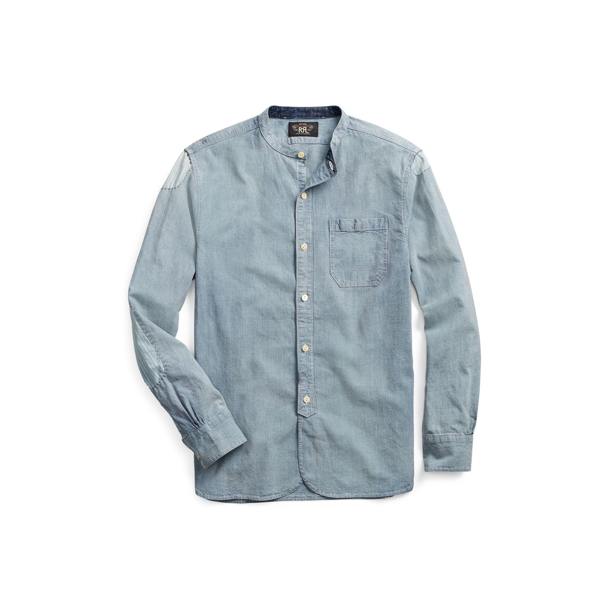 f757737b58 Lyst - RRL Striped Cotton-linen Shirt in Blue for Men
