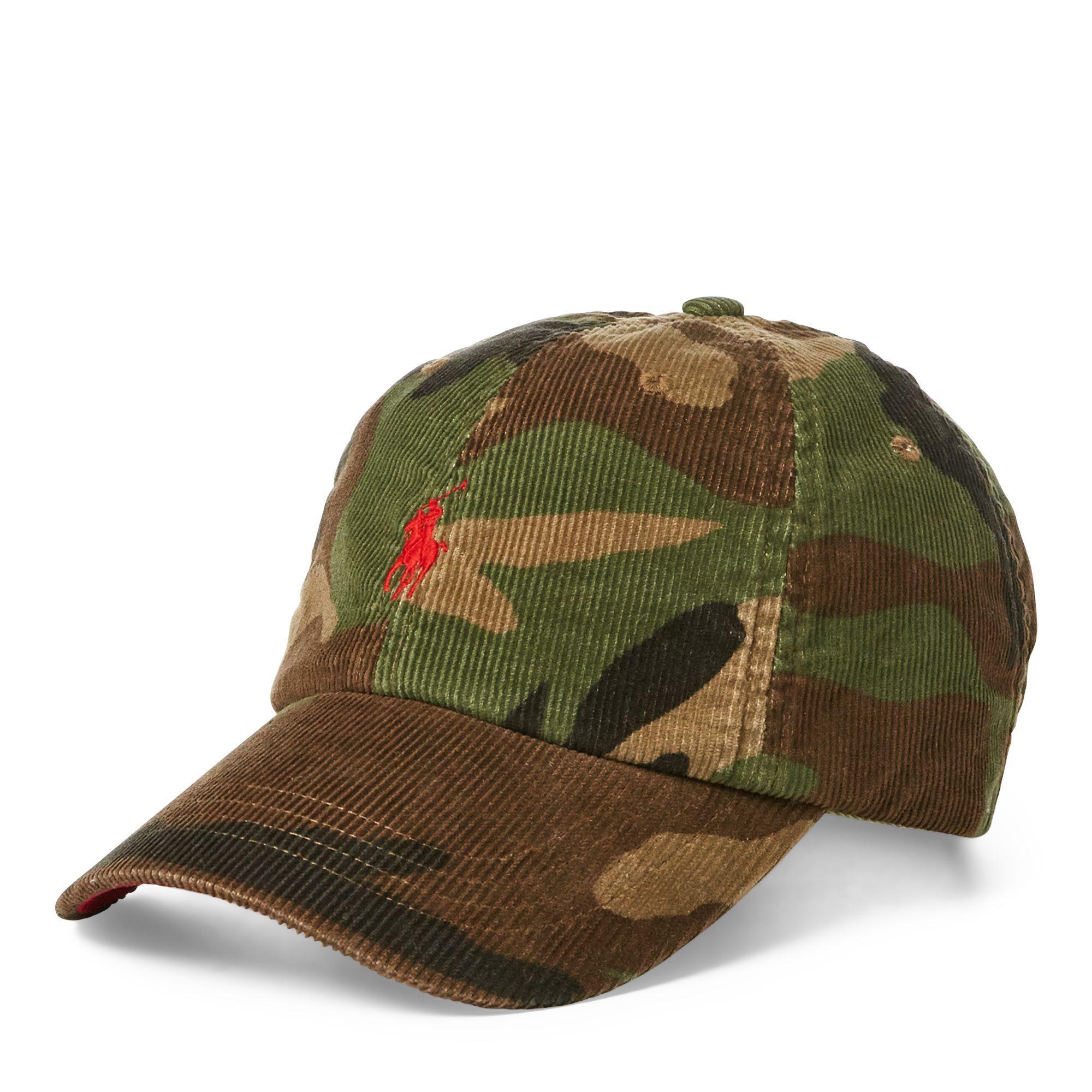 8aa82279dede01 Polo Ralph Lauren Camo Corduroy Baseball Cap in Green for Men - Lyst