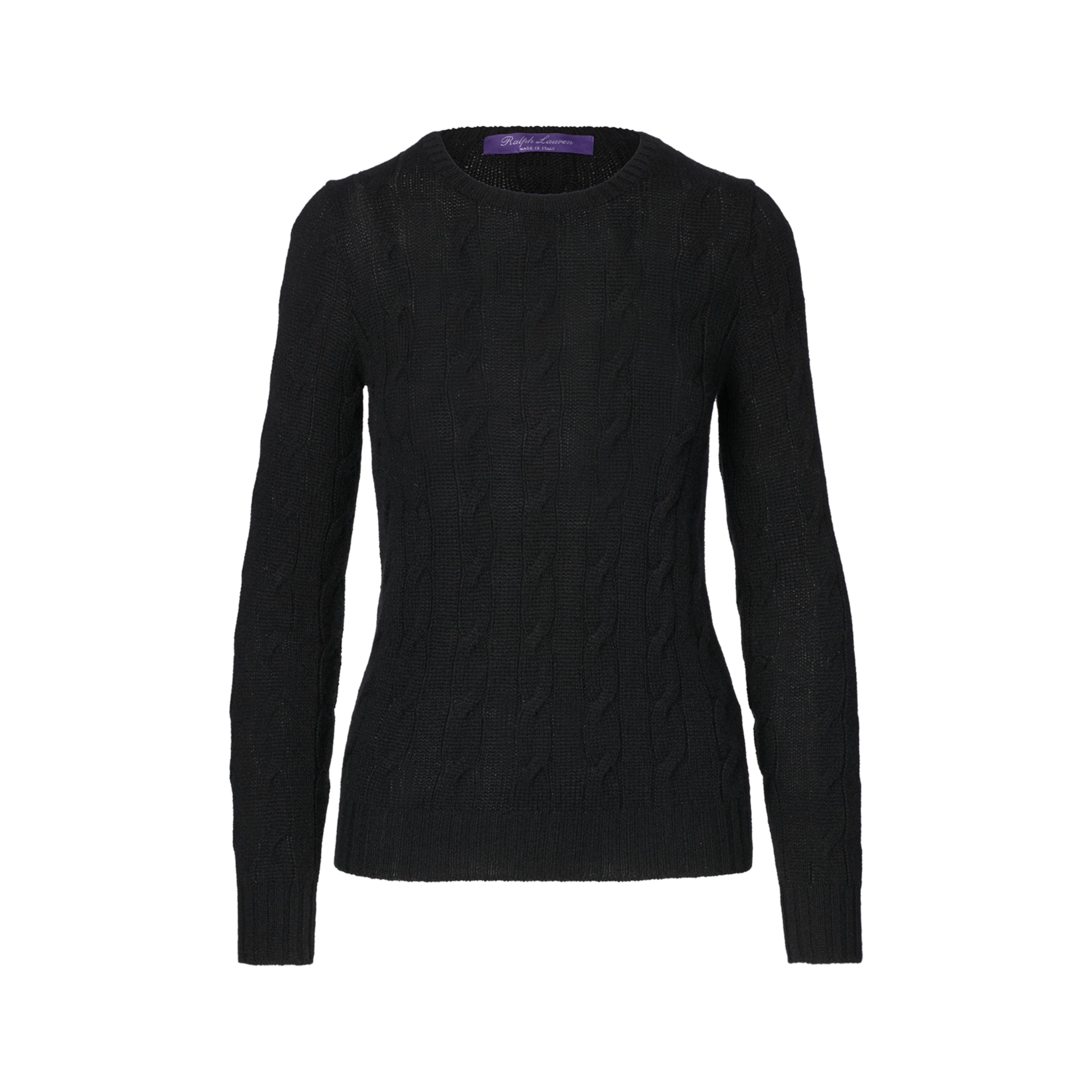 Ralph lauren Cable-knit Cashmere Sweater in Black | Lyst