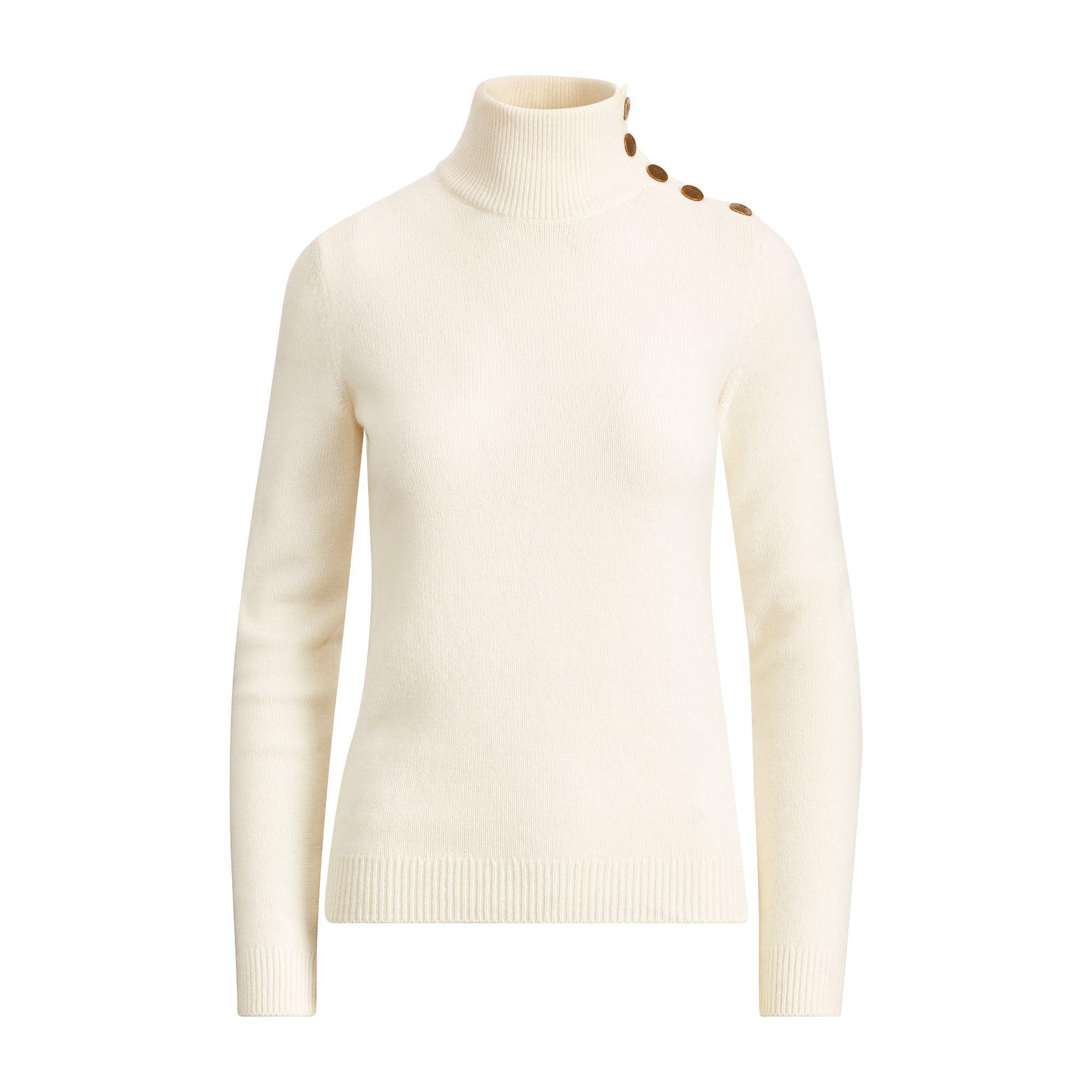 a0a36c50e0cda7 Ralph Lauren Button Cashmere Turtleneck - Lyst