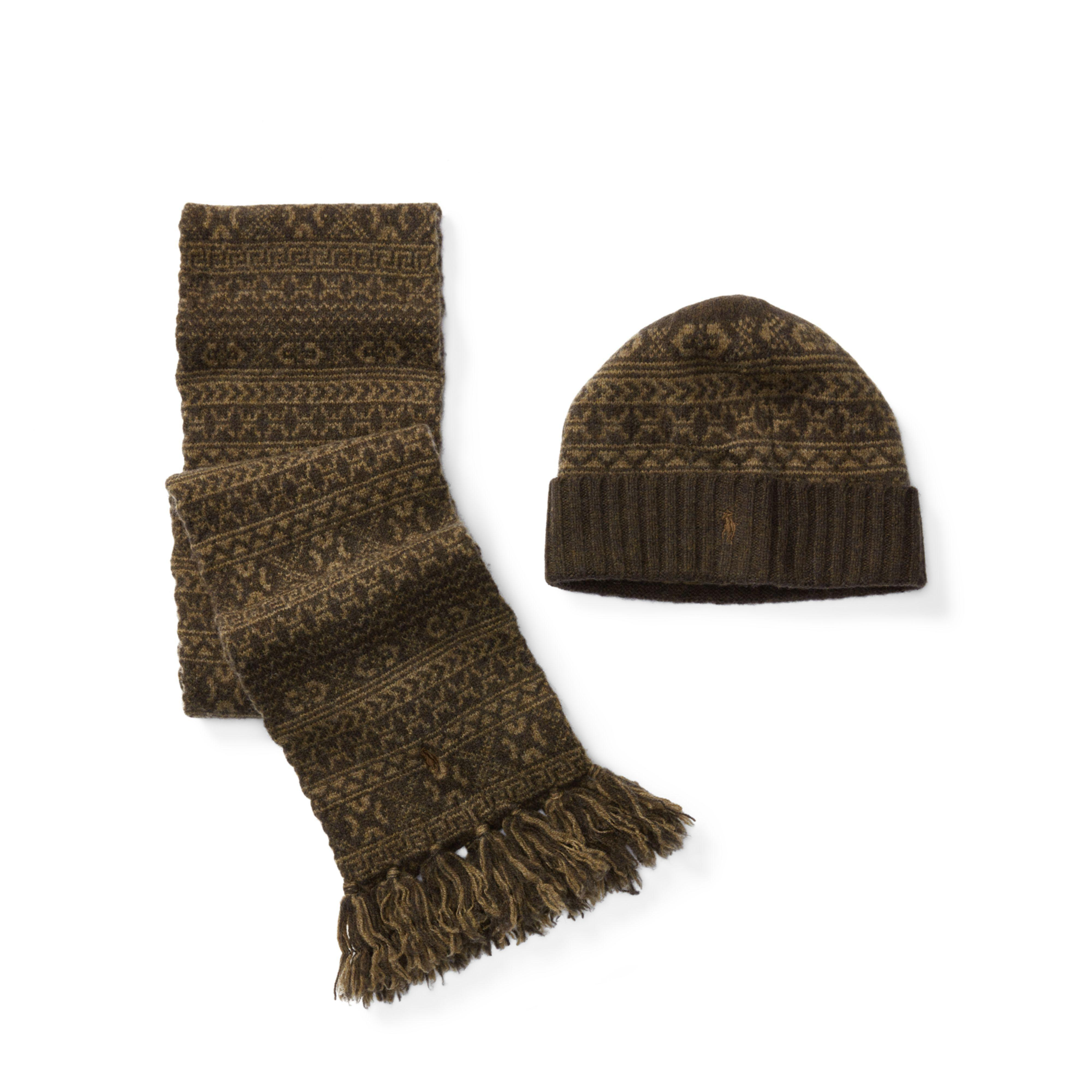 f52680c670431 ... cheap lyst polo ralph lauren fair isle hat scarf gift set in black for  men b15bf