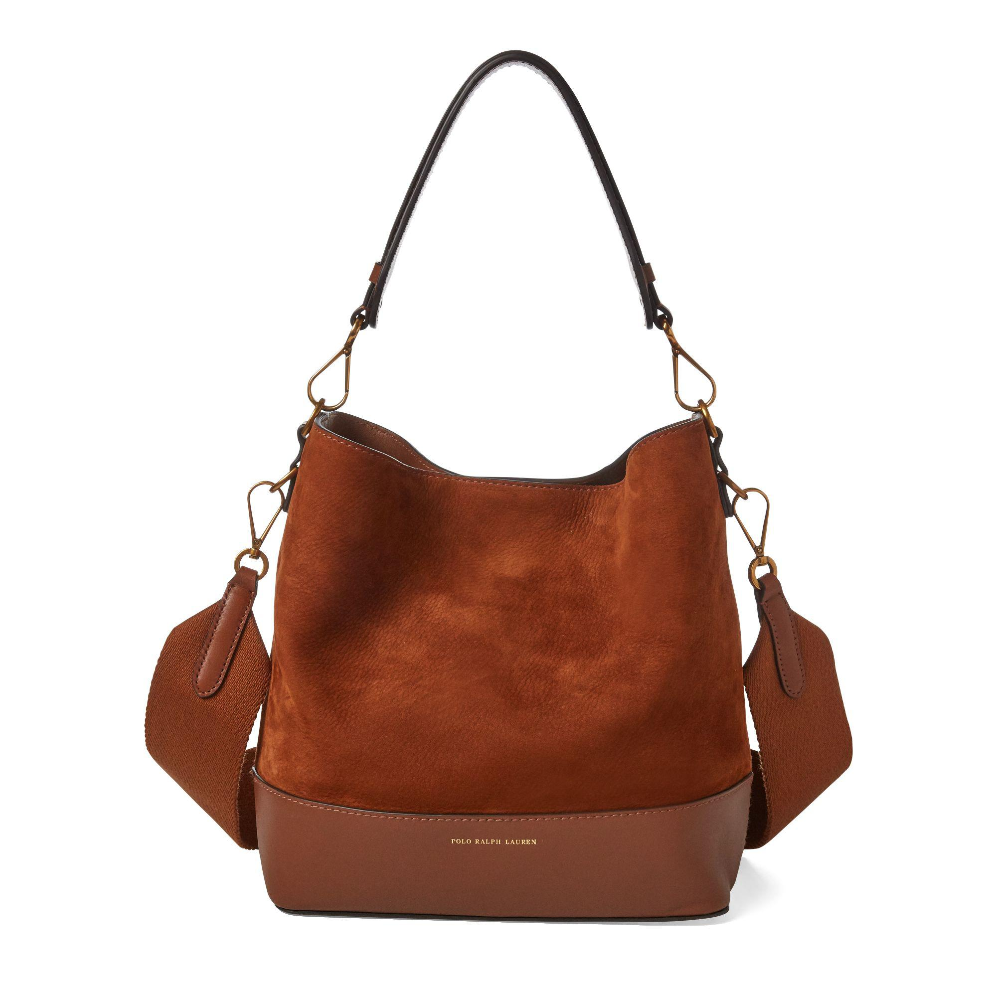 187613351ad Polo Ralph Lauren Small Suede Leather Hobo Bag in Brown - Lyst